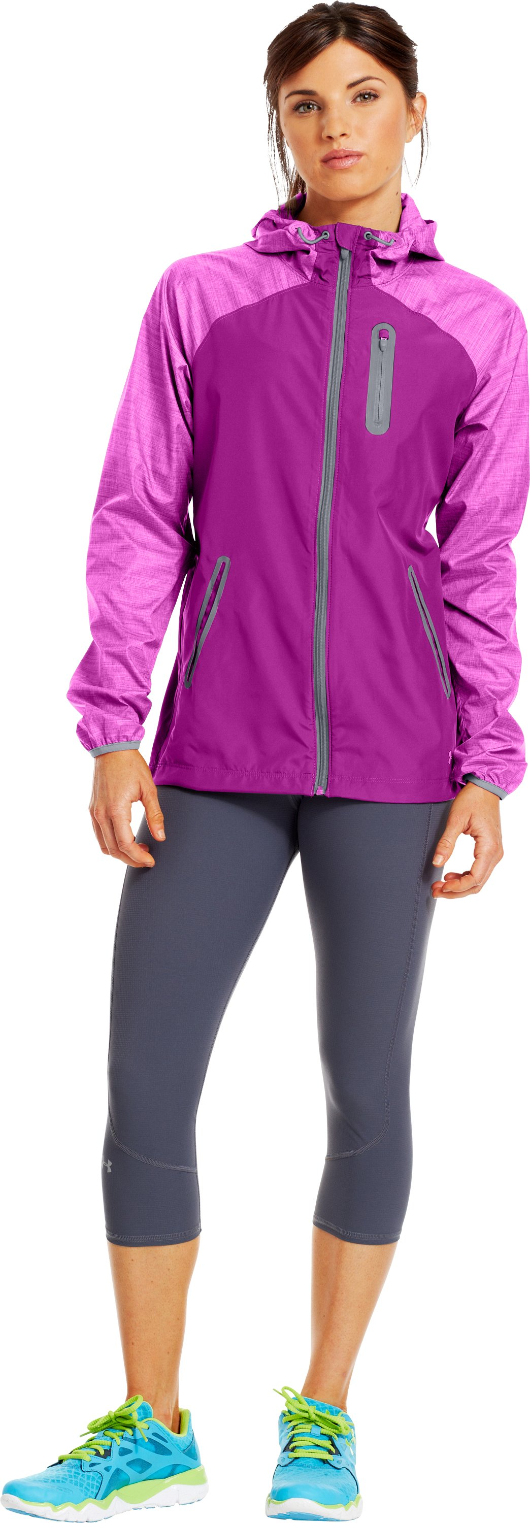 Women's UA Qualifier Woven Jacket, STROBE, Front