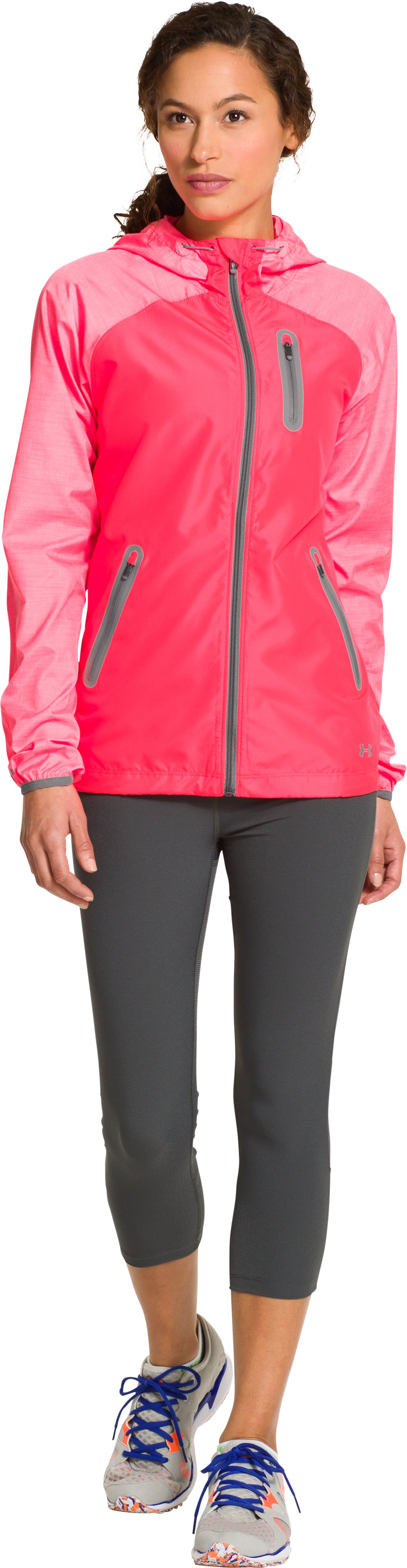 Women's UA Qualifier Woven Jacket, Neo Pulse, Front