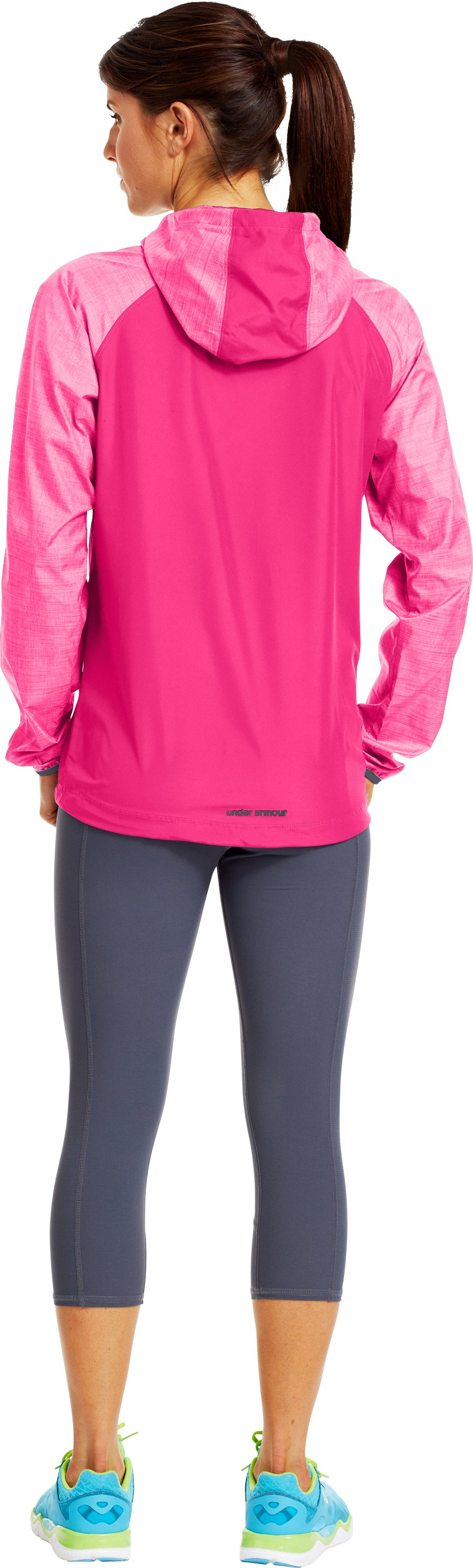 Women's UA Qualifier Woven Jacket, PINKADELIC, Back