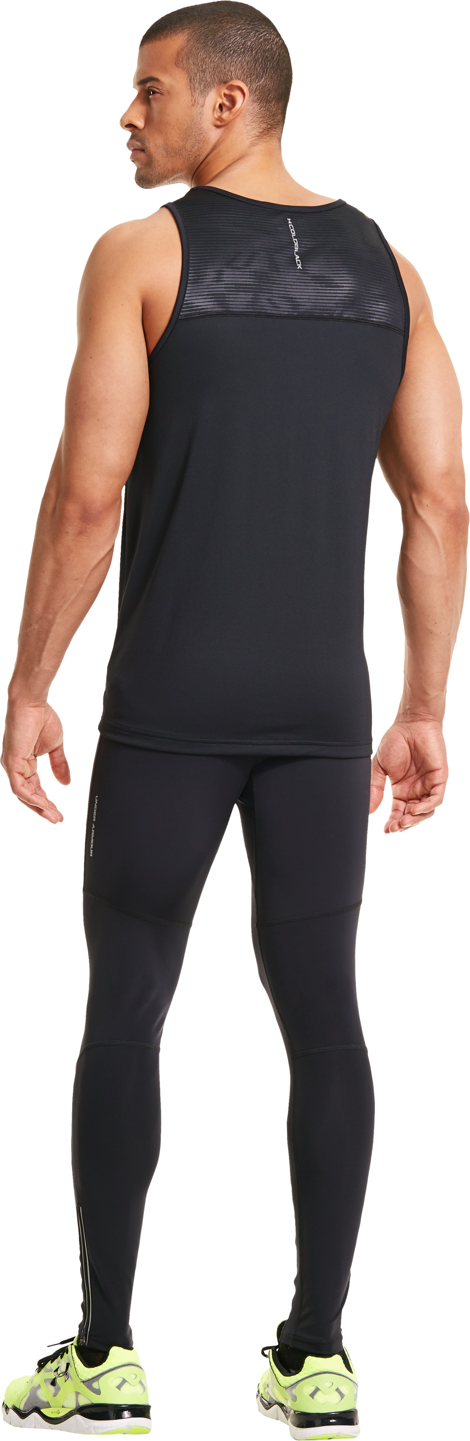 Men's UA Run Compression Leggings, Black , Back