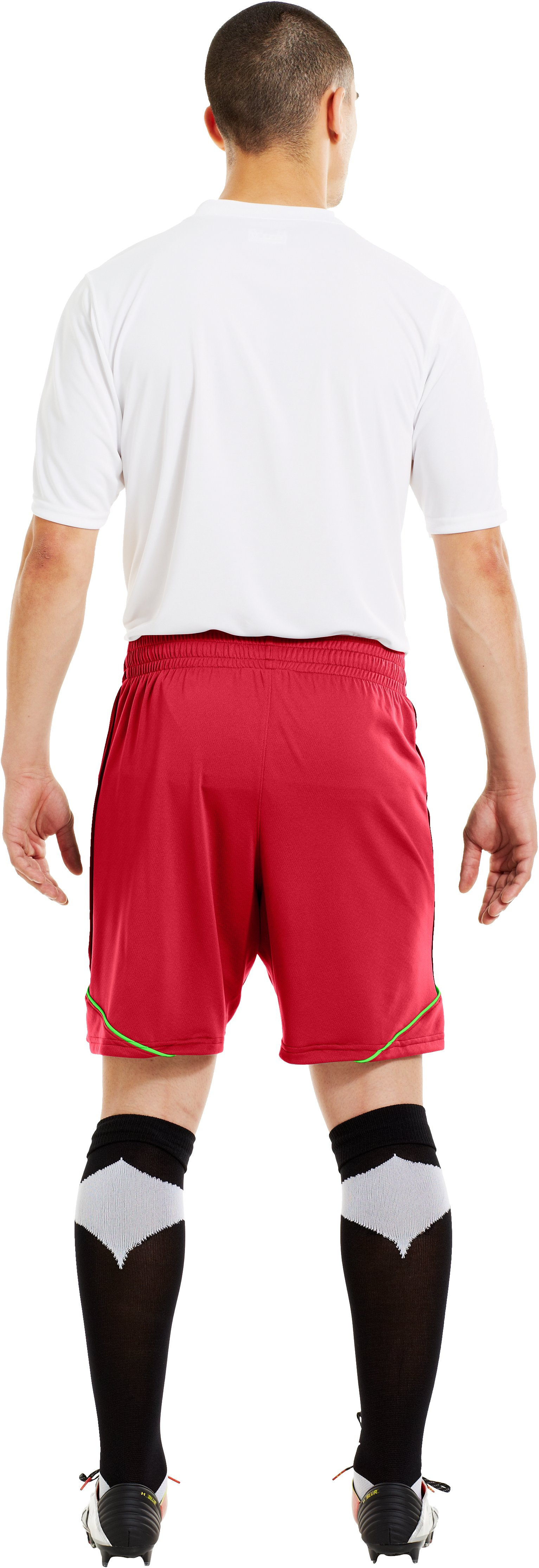 Men's UA Essential Soccer Shorts, Red, Back