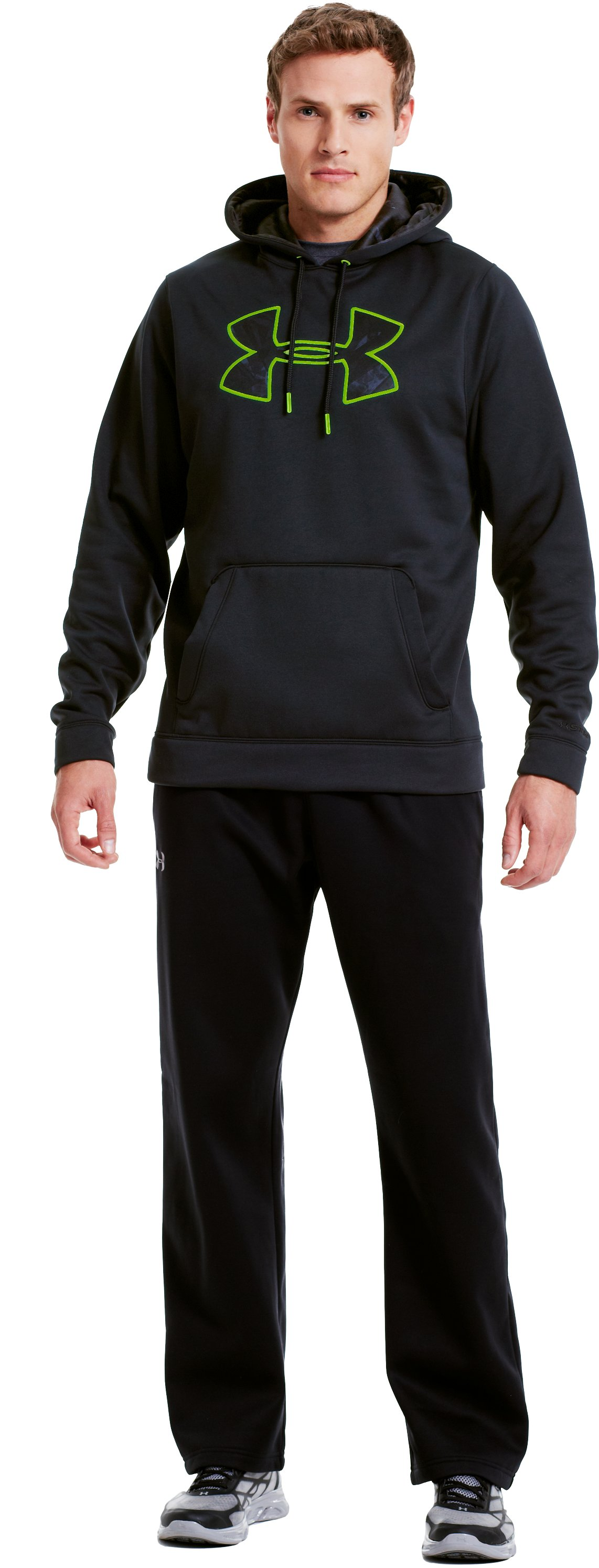 Men's UA Storm Armour® Fleece Pattern Big Logo Hoodie, Black , Front