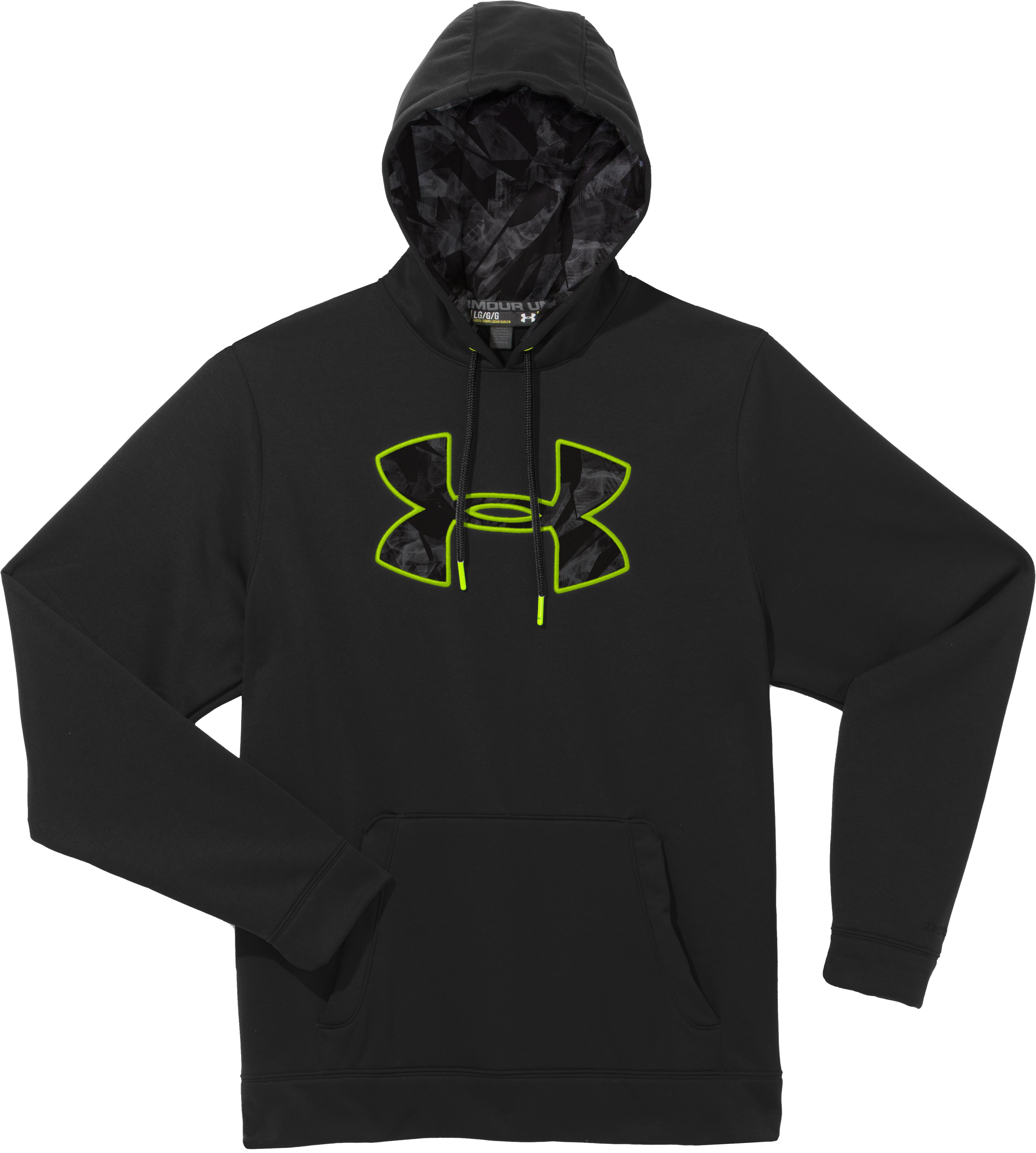 Men's UA Storm Armour® Fleece Pattern Big Logo Hoodie, Black , Laydown
