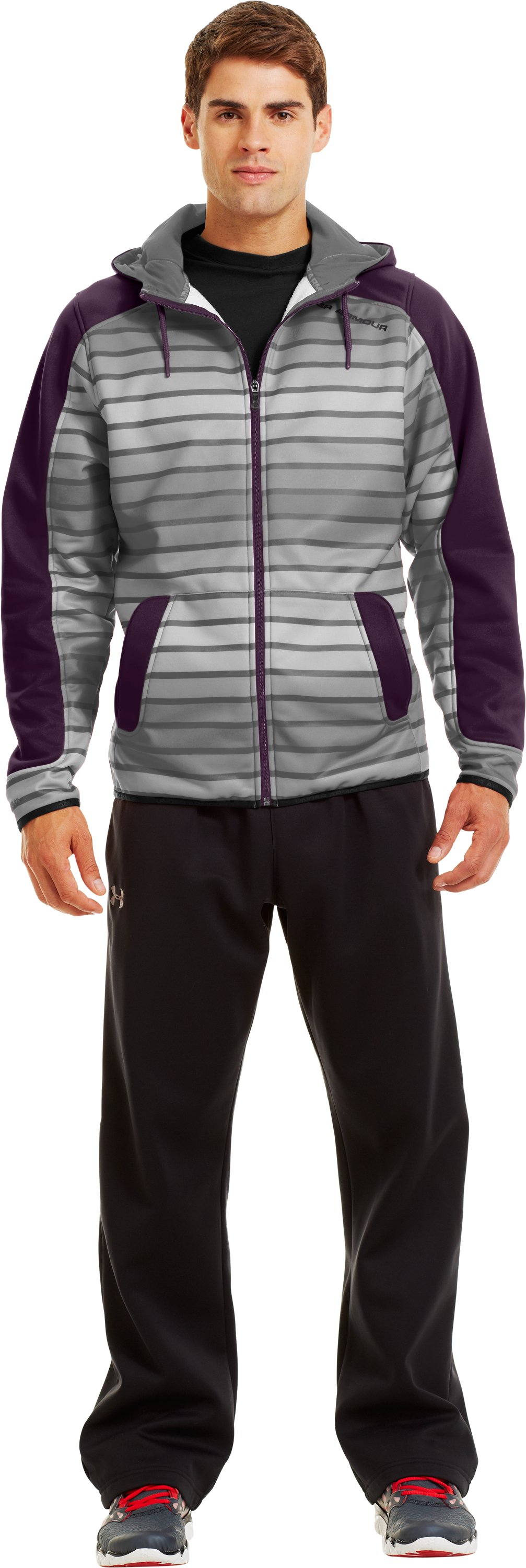 Men's Armour® Fleece Storm Full Zip Hoodie, Steel, zoomed image