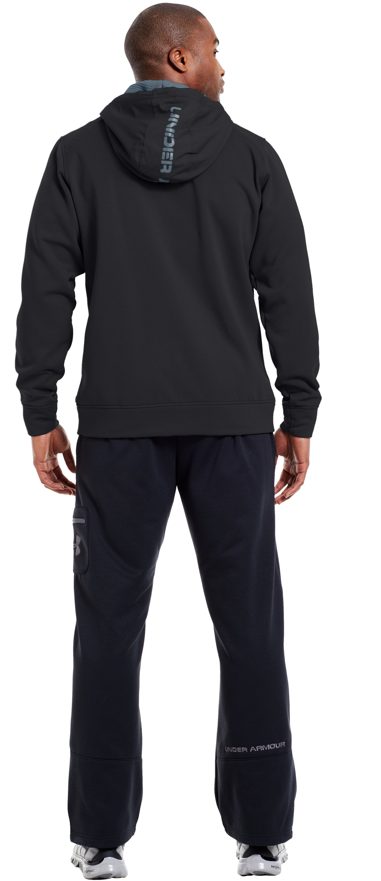 Men's ColdGear® Infrared Armour® Fleece Storm ¼ Zip Hoodie, Black , Back