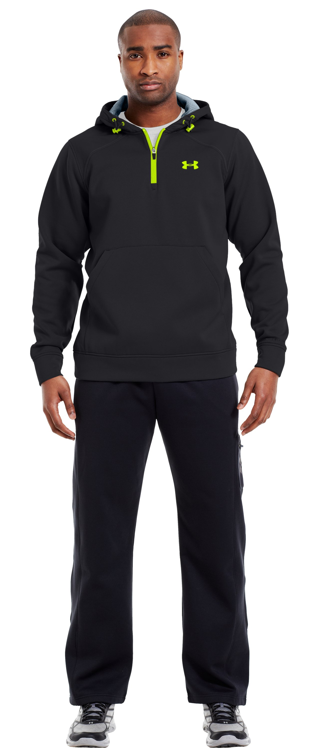 Men's ColdGear® Infrared Armour® Fleece Storm ¼ Zip Hoodie, Black , Front