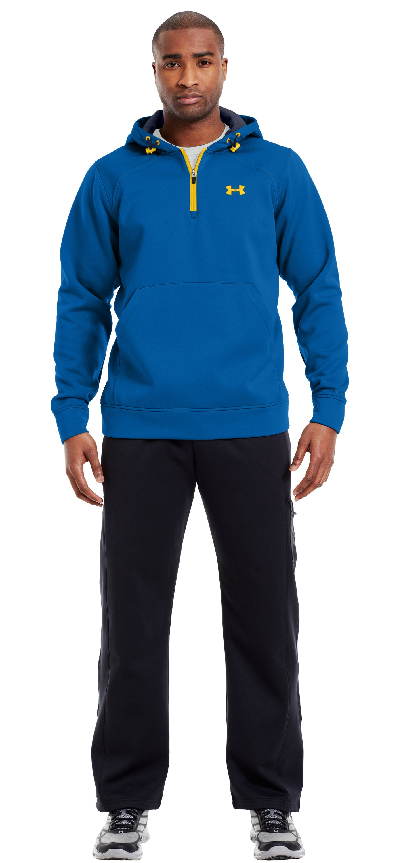 Men's ColdGear® Infrared Armour® Fleece Storm ¼ Zip Hoodie, SUPERIOR BLUE, Front