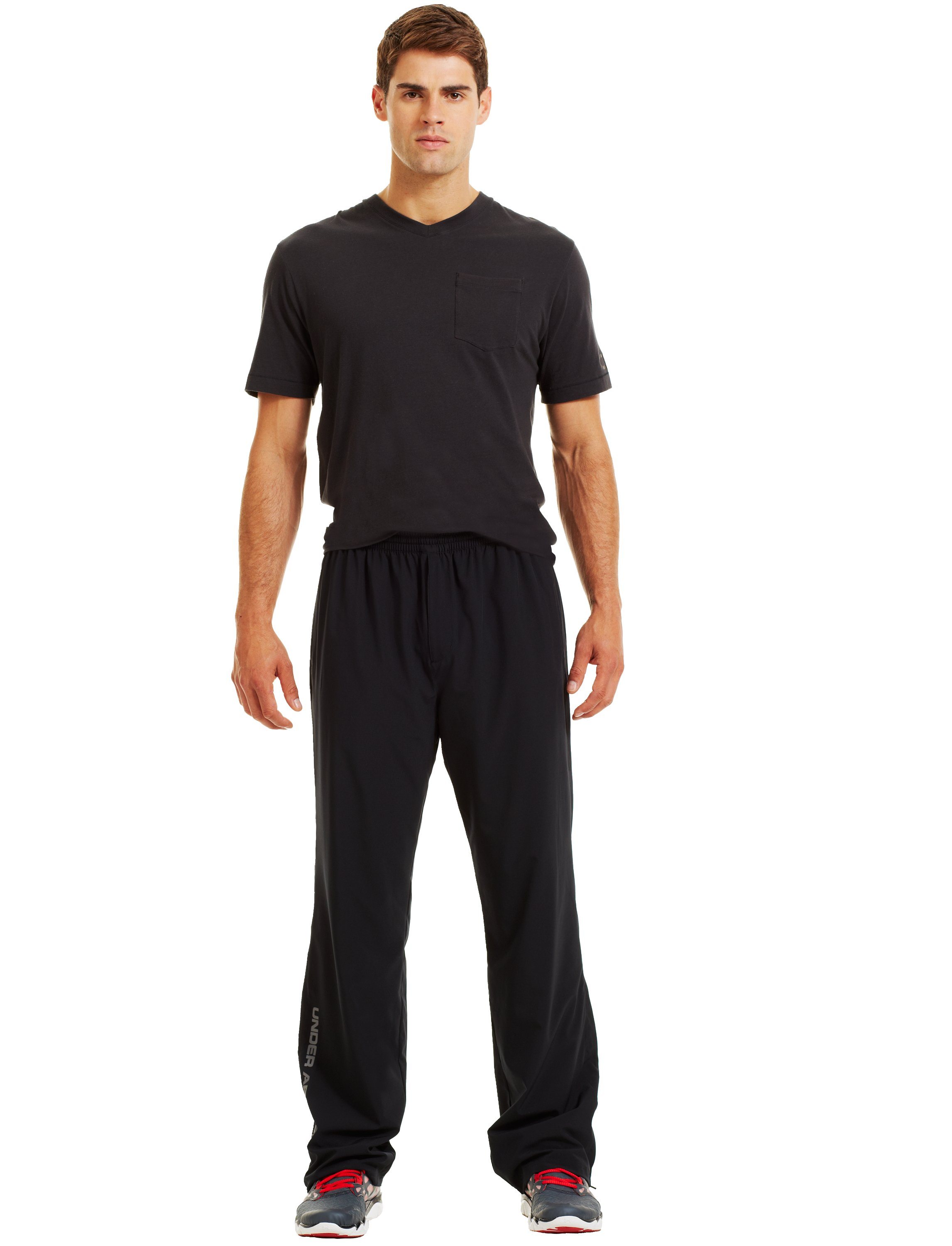 Men's UA Pulse Woven Pants, Black , Front