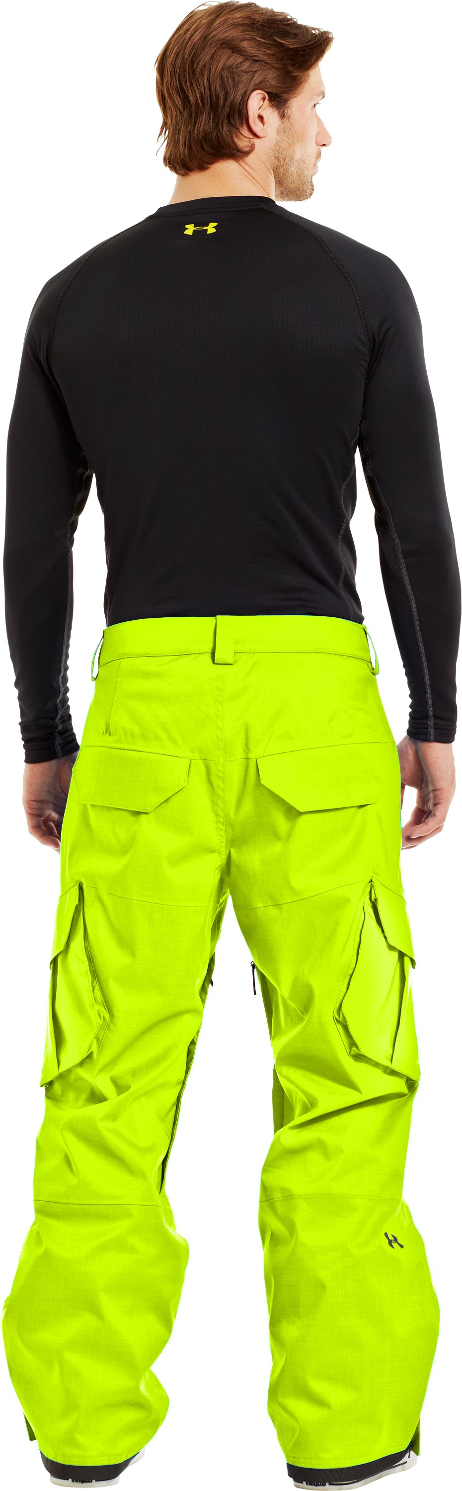 Men's ColdGear® Infrared Snocone Pants, High-Vis Yellow, Back