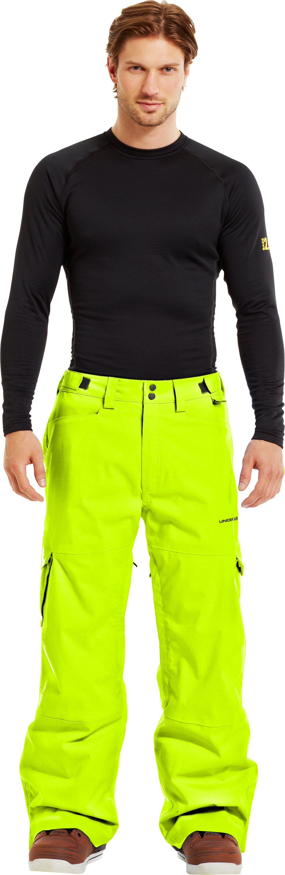 Men's ColdGear® Infrared Snocone Pants, High-Vis Yellow, zoomed image