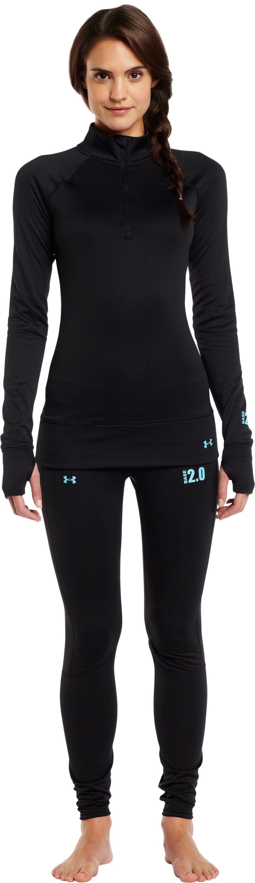 Women's UA Base™ 2.0 ¼ Zip, Black , Front
