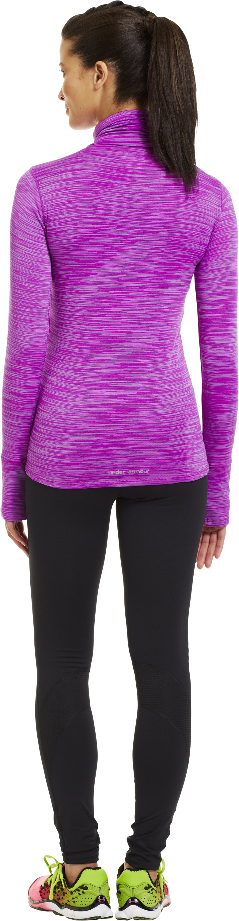 Women's UA Run Wind Turtleneck, STROBE, Back