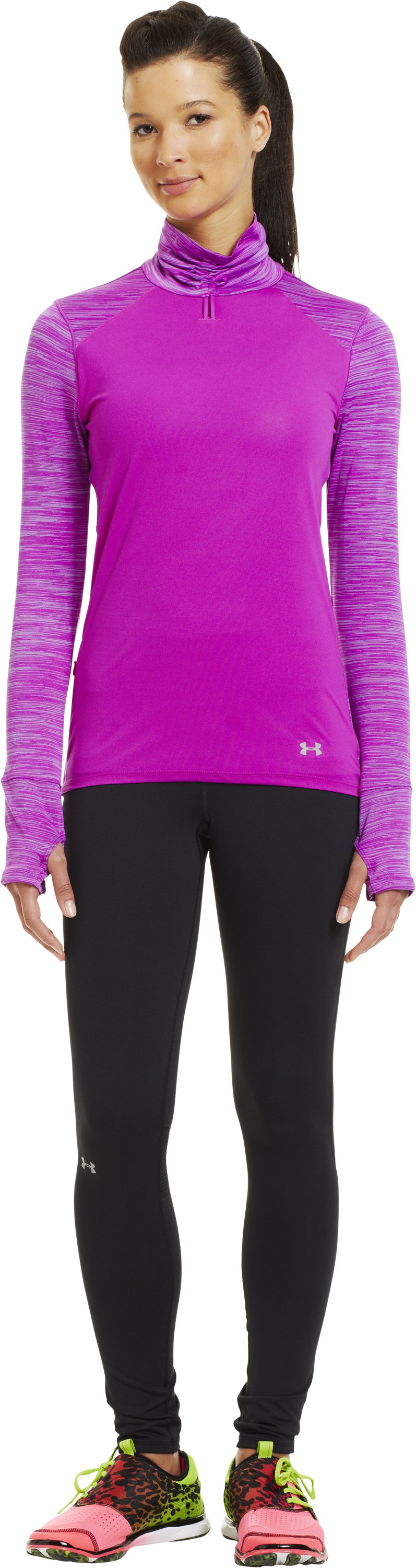 Women's UA Run Wind Turtleneck, STROBE, Front