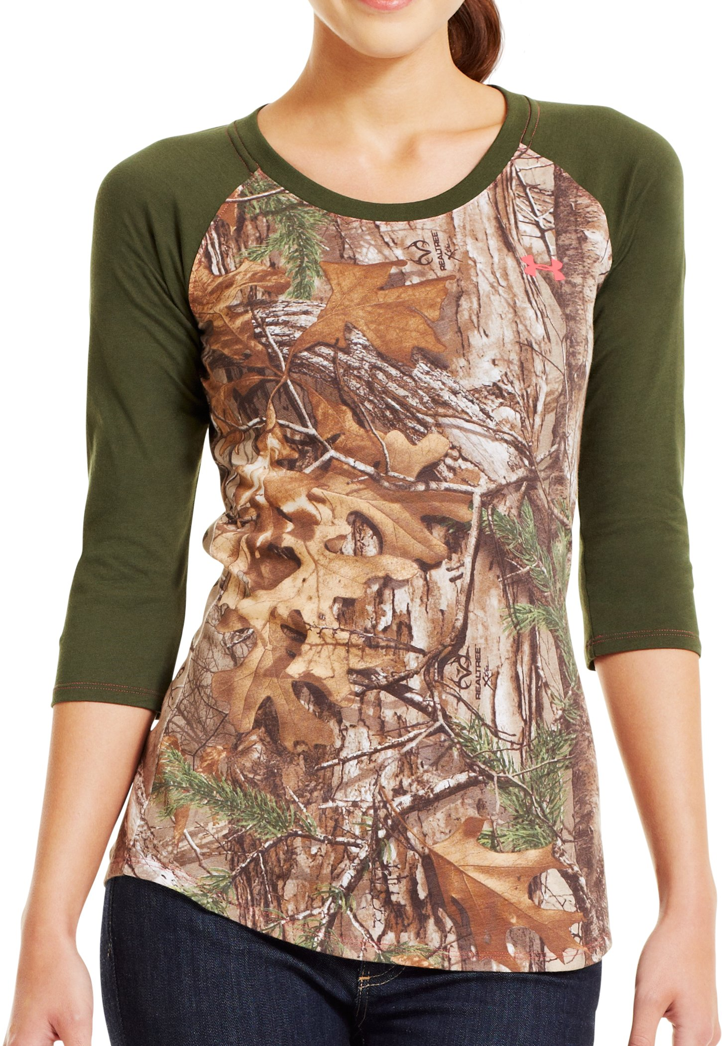 Women's Charged Cotton® Camo ¾ T-Shirt, REALTREE AP-XTRA, Front
