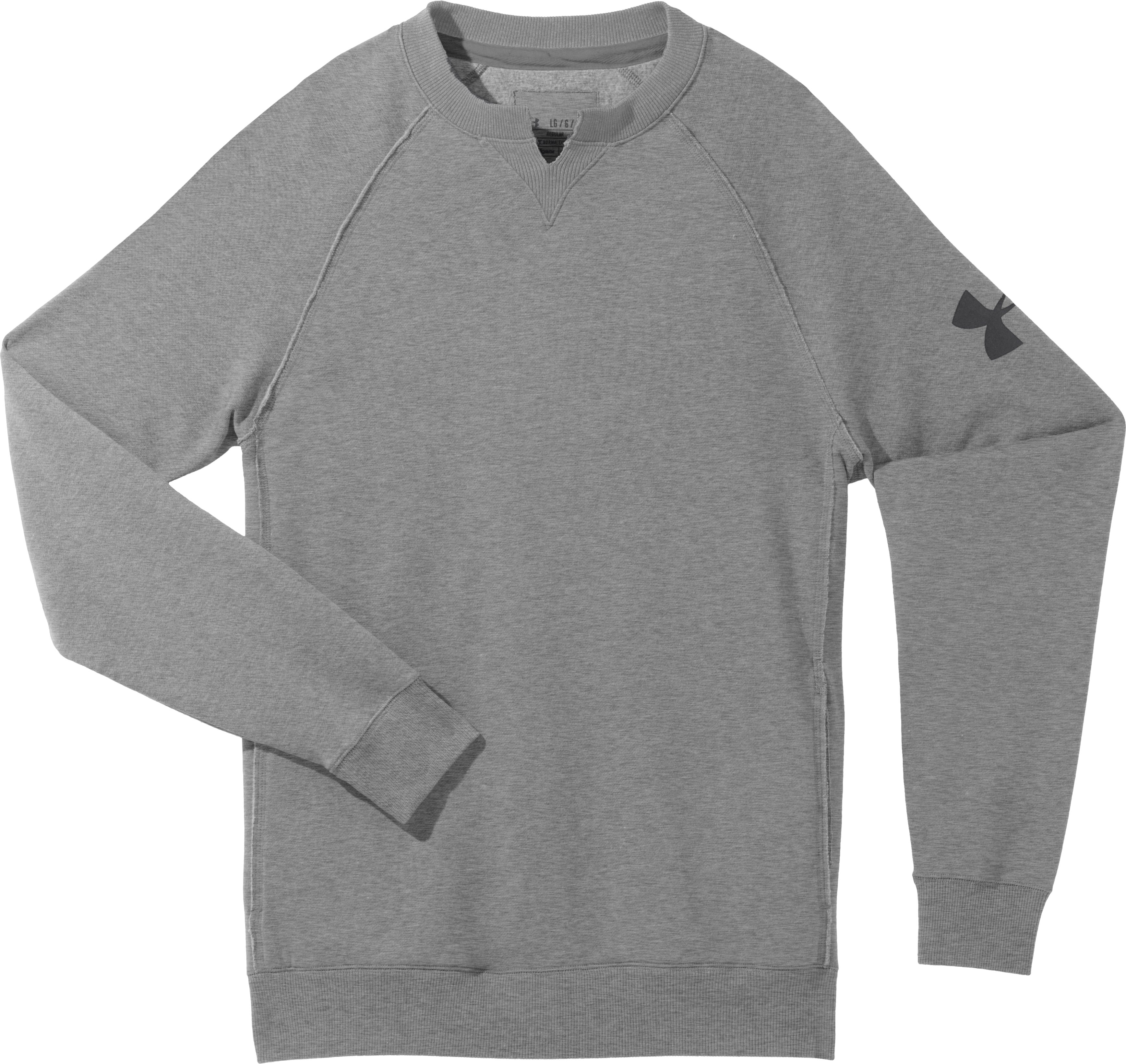 Men's Charged Cotton® Legacy Fleece Crew, True Gray Heather, Laydown