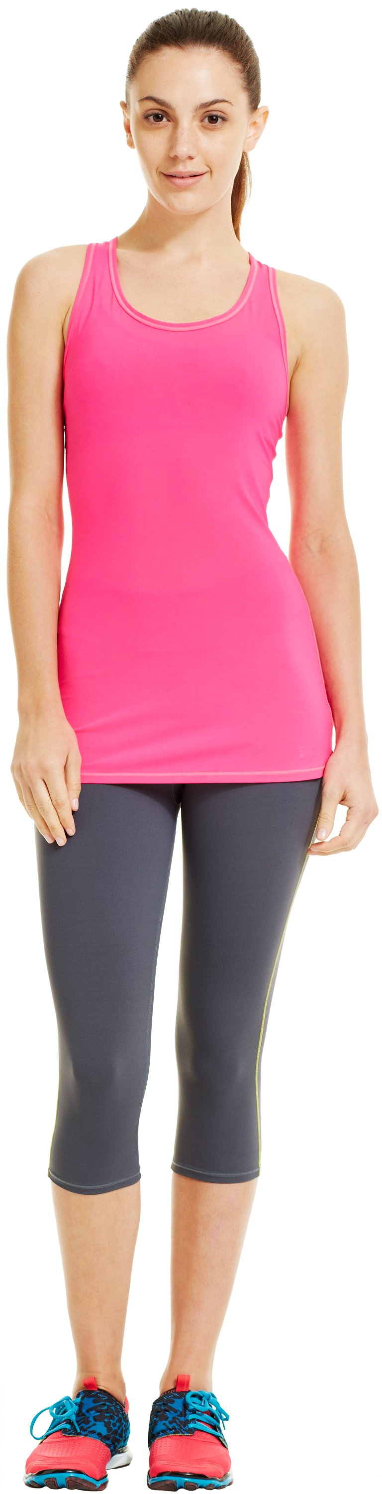Women's UA Pure Stretch HeatGear® Tank, PINKADELIC, Front