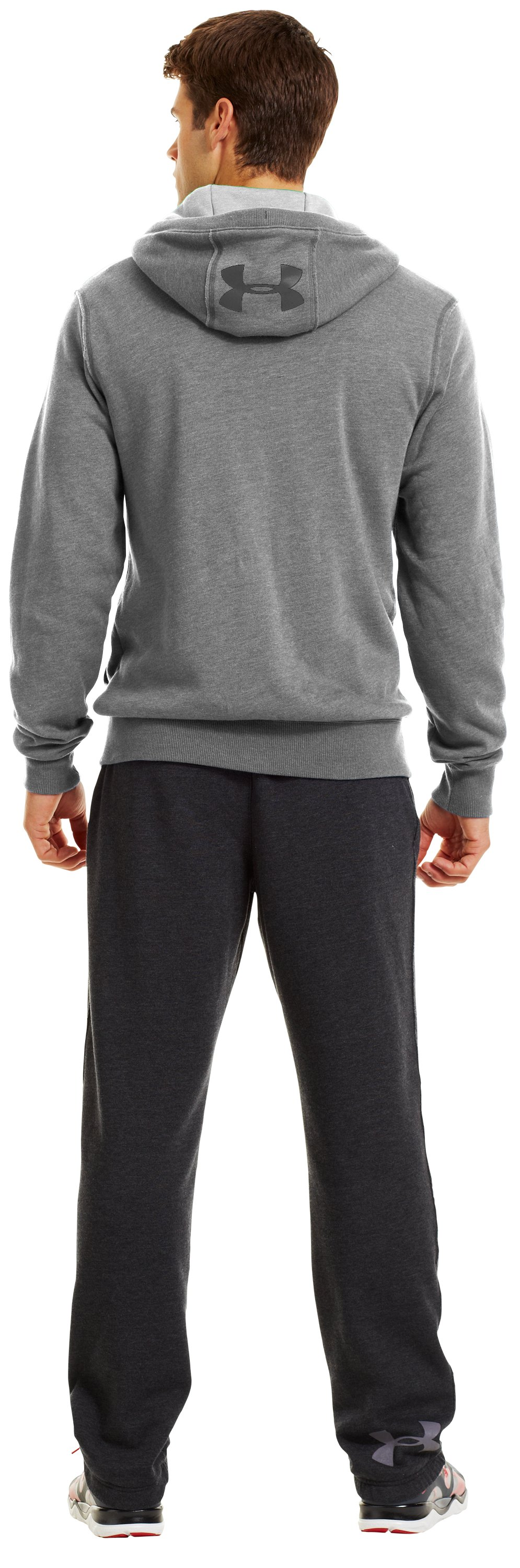Men's Charged Cotton® Legacy Fleece Full Zip Hoodie, True Gray Heather, Back