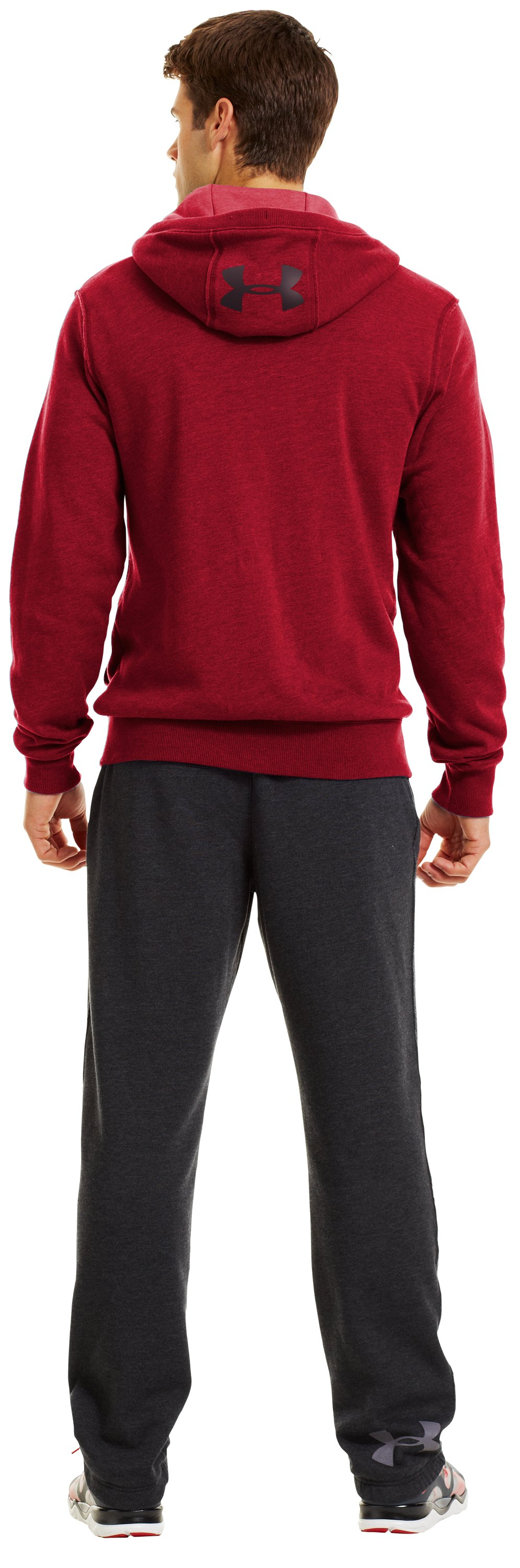 Men's Charged Cotton® Legacy Fleece Full Zip Hoodie, Red, Back