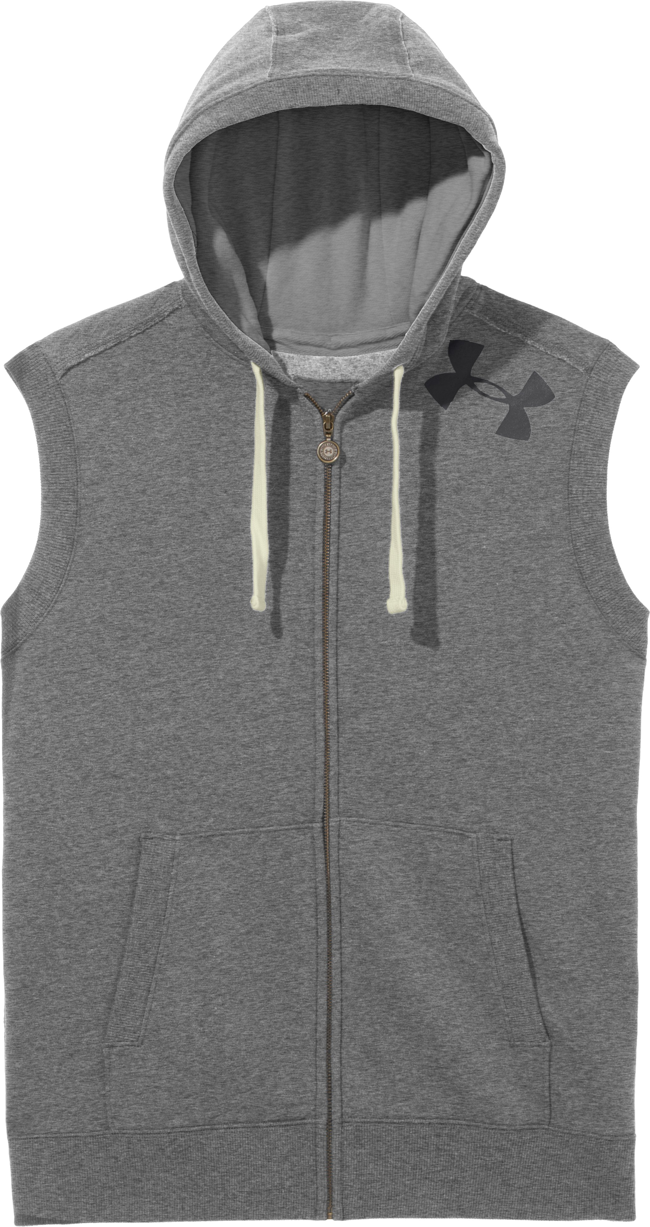 Men's Charged Cotton® Legacy Hooded Vest, True Gray Heather, Laydown