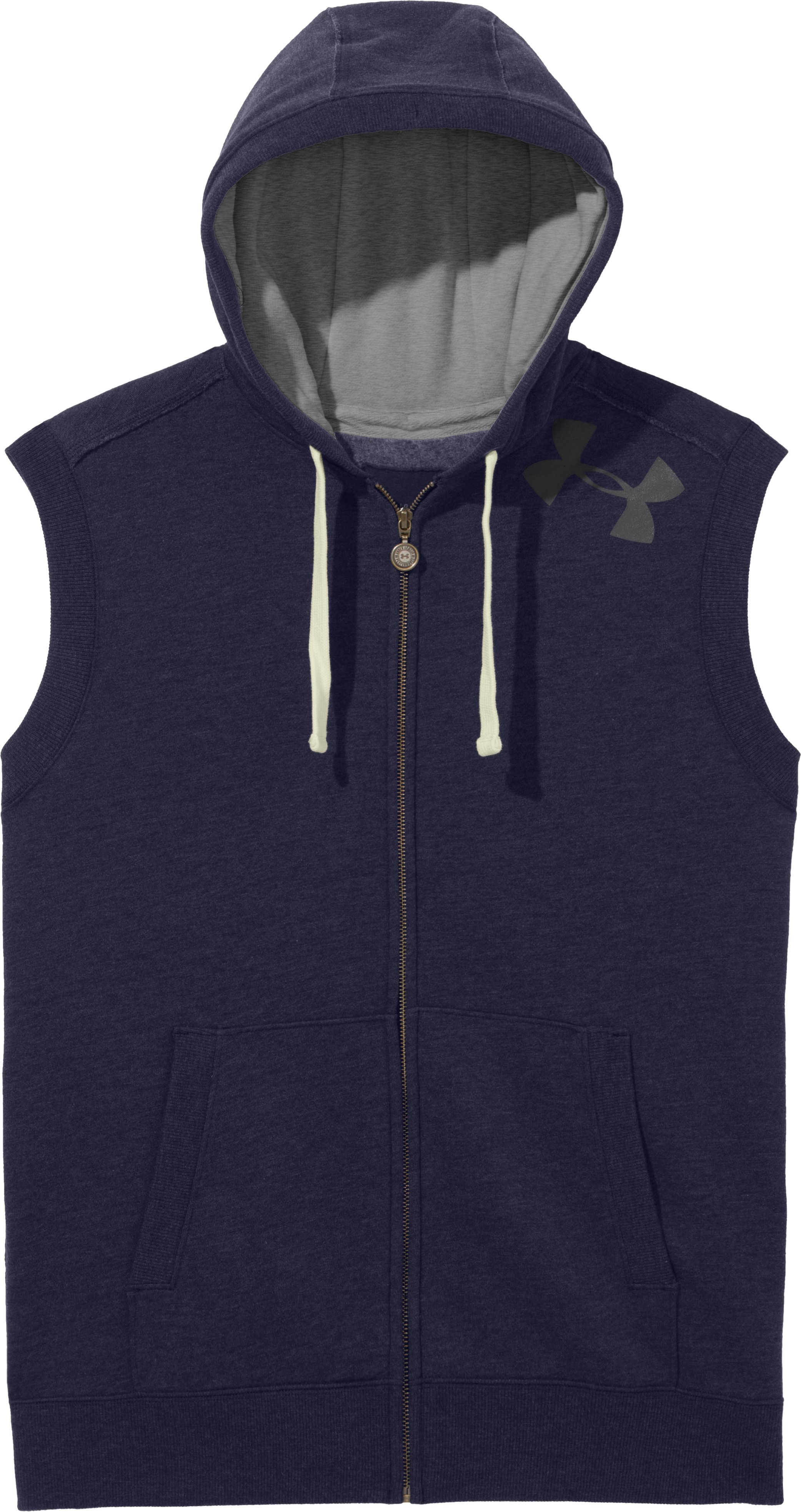 Men's Charged Cotton® Legacy Hooded Vest, Midnight Navy, Laydown