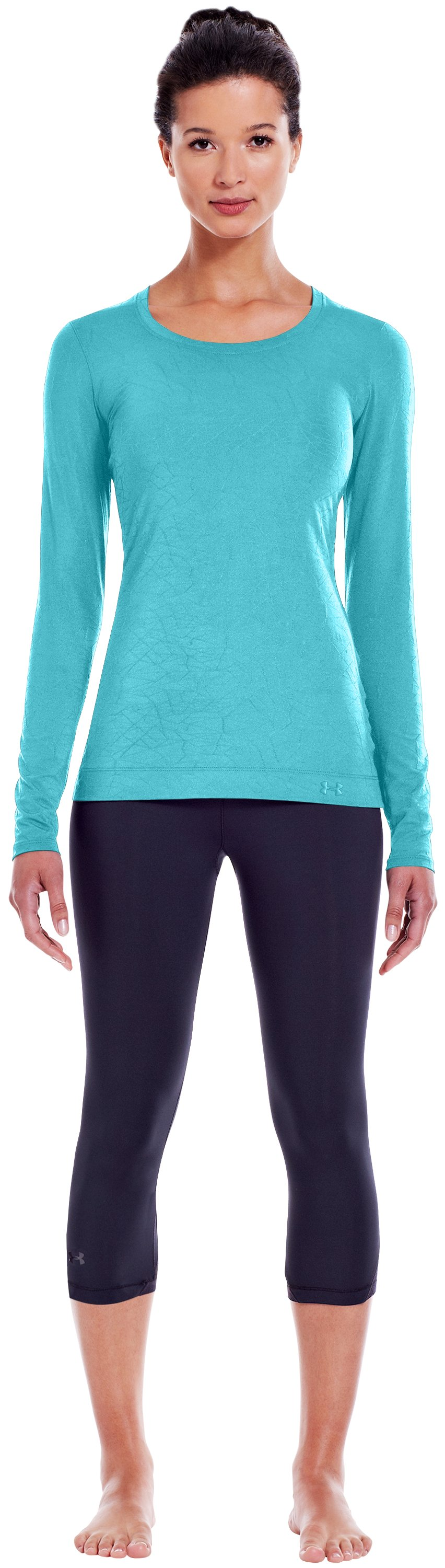 Women's HeatGear® Sonic Jacquard Long Sleeve, Tobago, Front