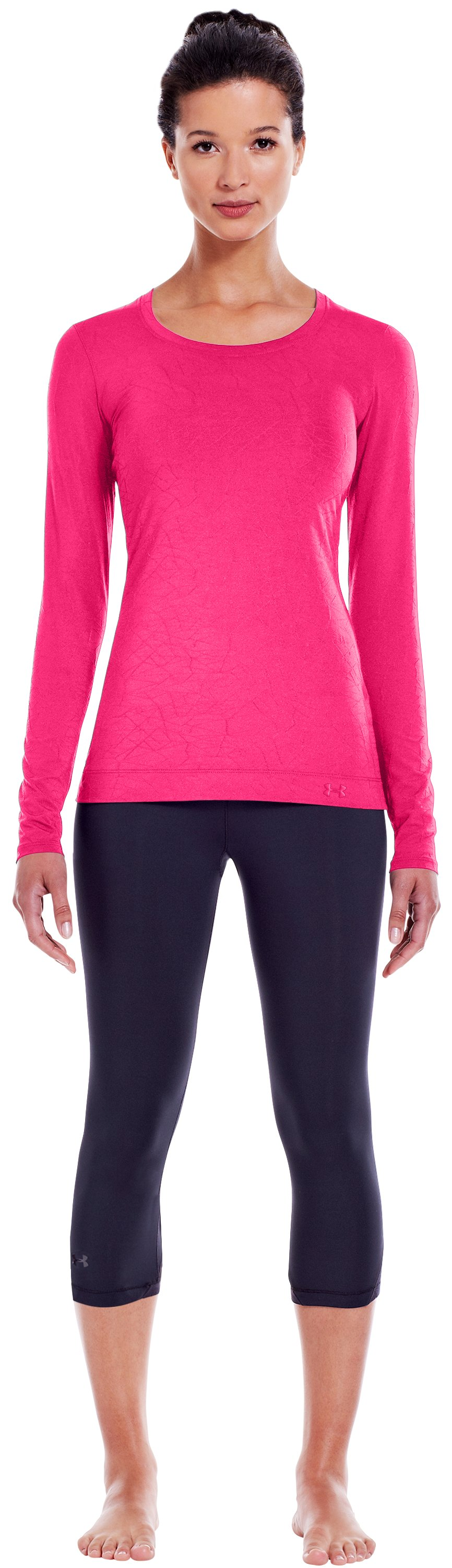 Women's HeatGear® Sonic Jacquard Long Sleeve, PINKADELIC, zoomed image