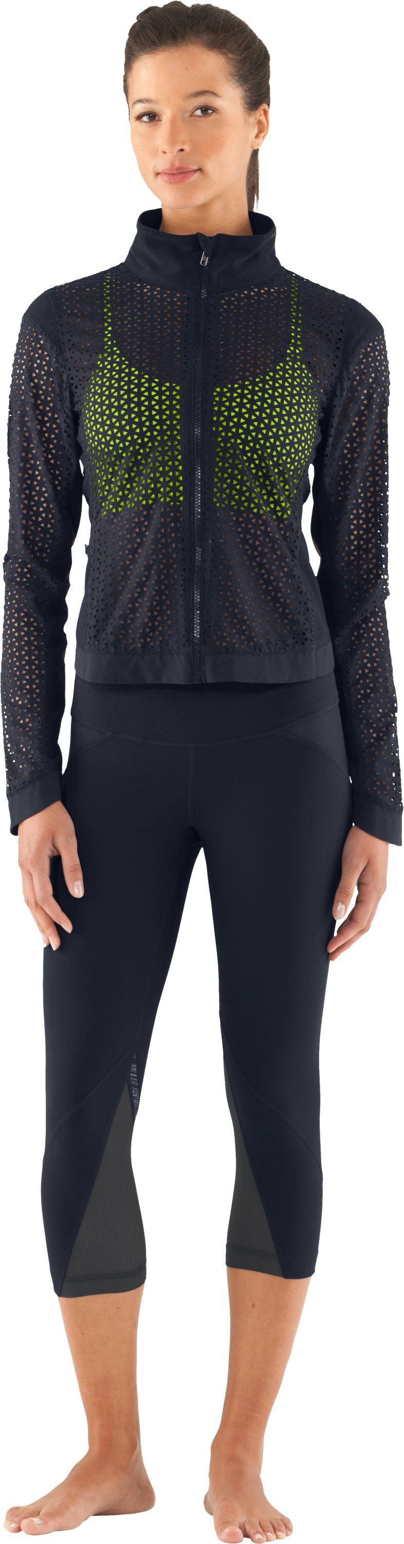 Women's UA Studio See Me Through Jacket, ANTHRACITE, zoomed image