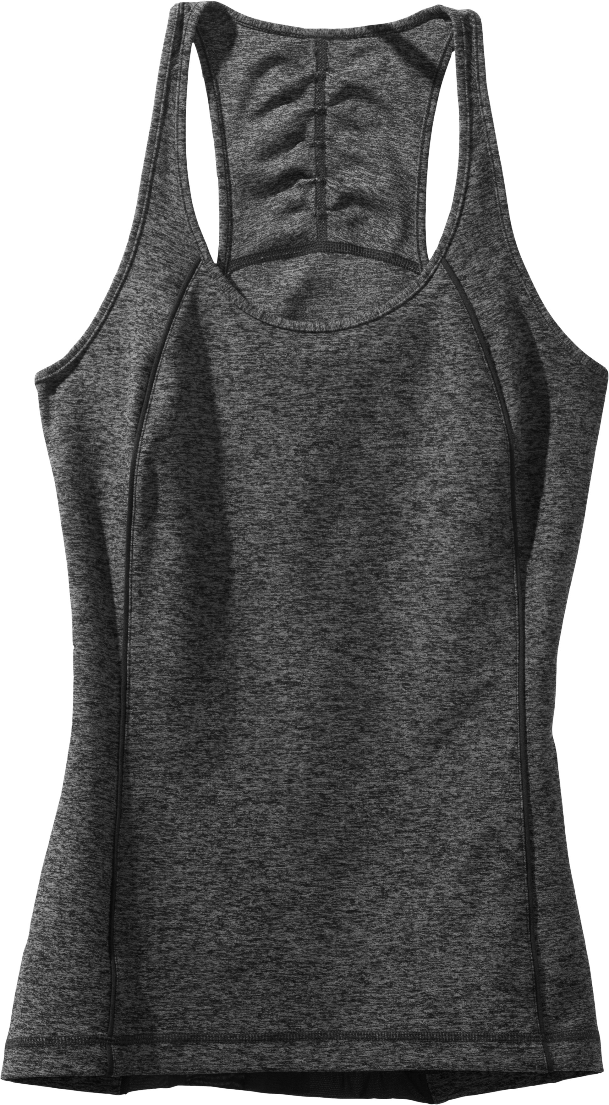 Women's UA Studio Rave Racer Back, ANTHRACITE, Laydown