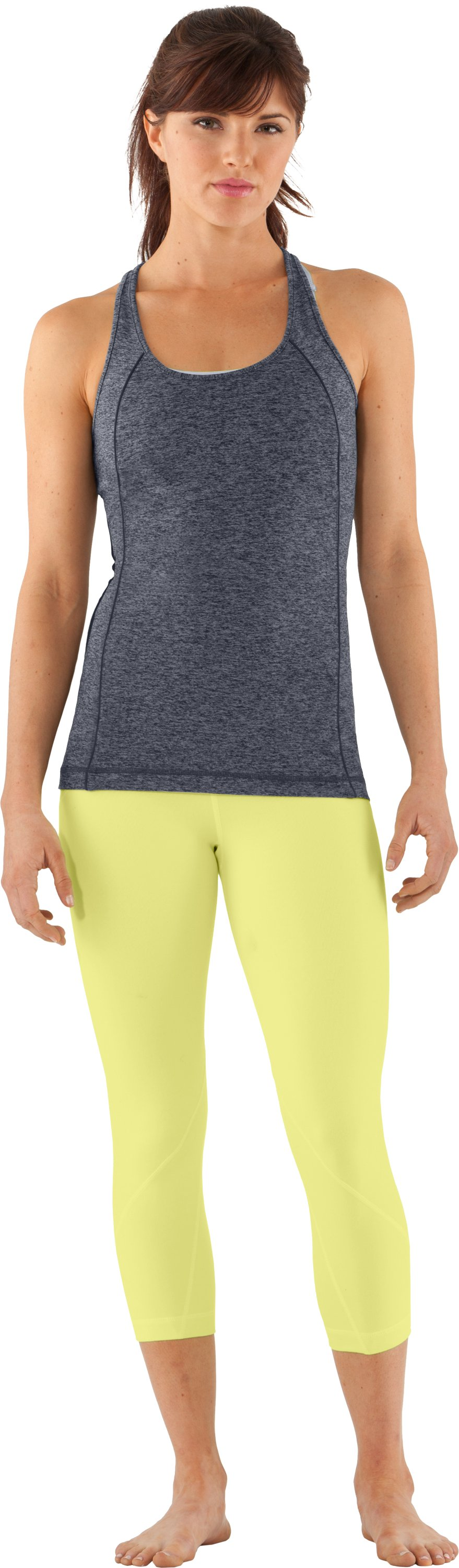 Women's UA Studio Rave Racer Back, ANTHRACITE, zoomed image
