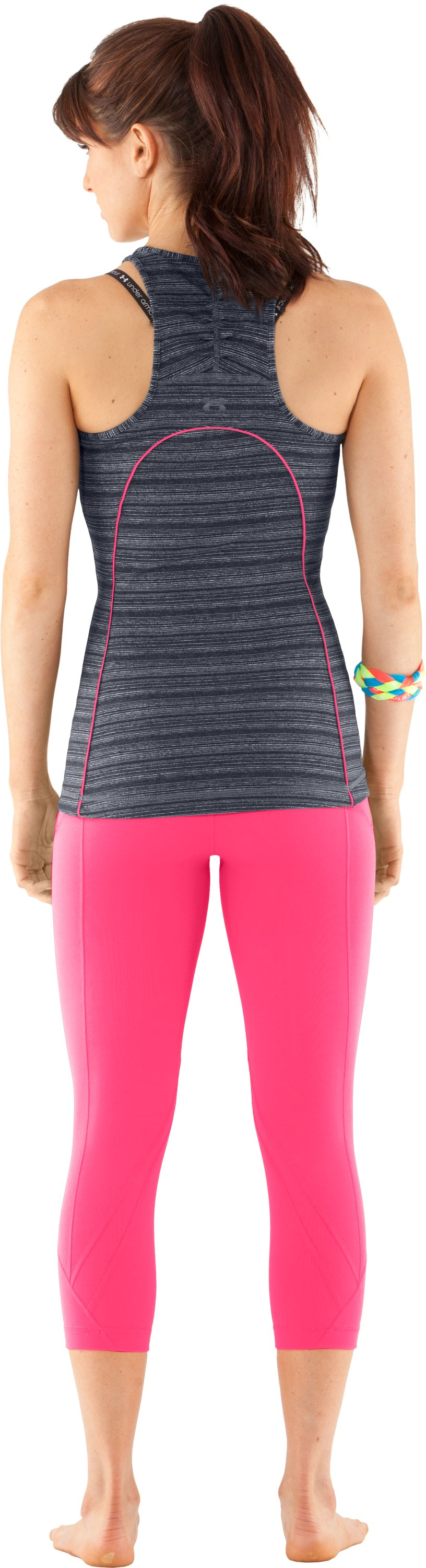 Women's UA Studio Rave Racer Back, ANTHRACITE, Back