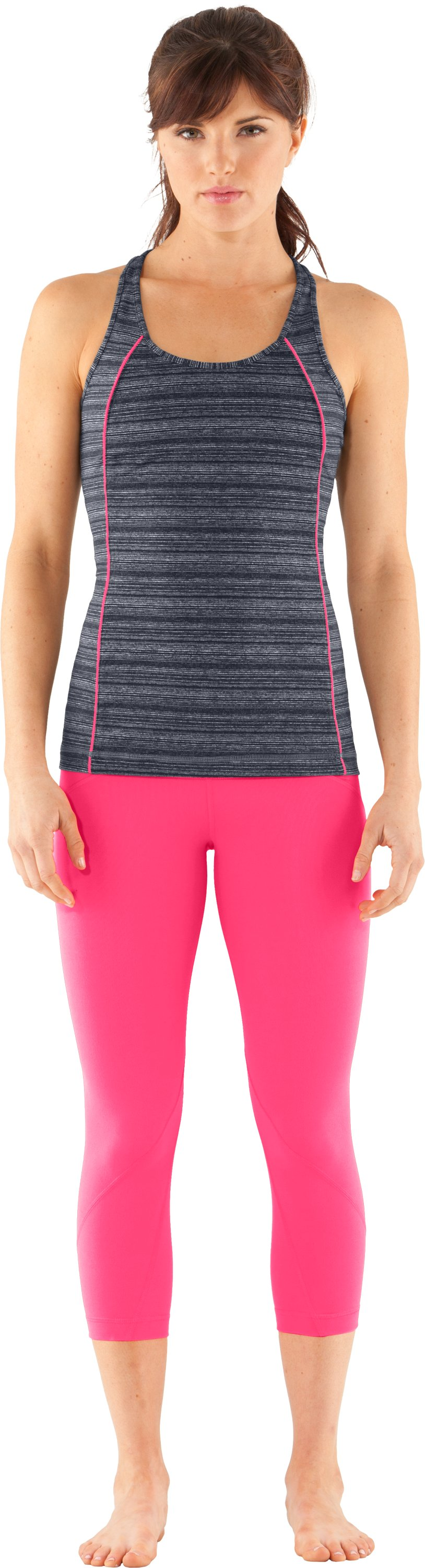 Women's UA Studio Rave Racer Back, ANTHRACITE, Front