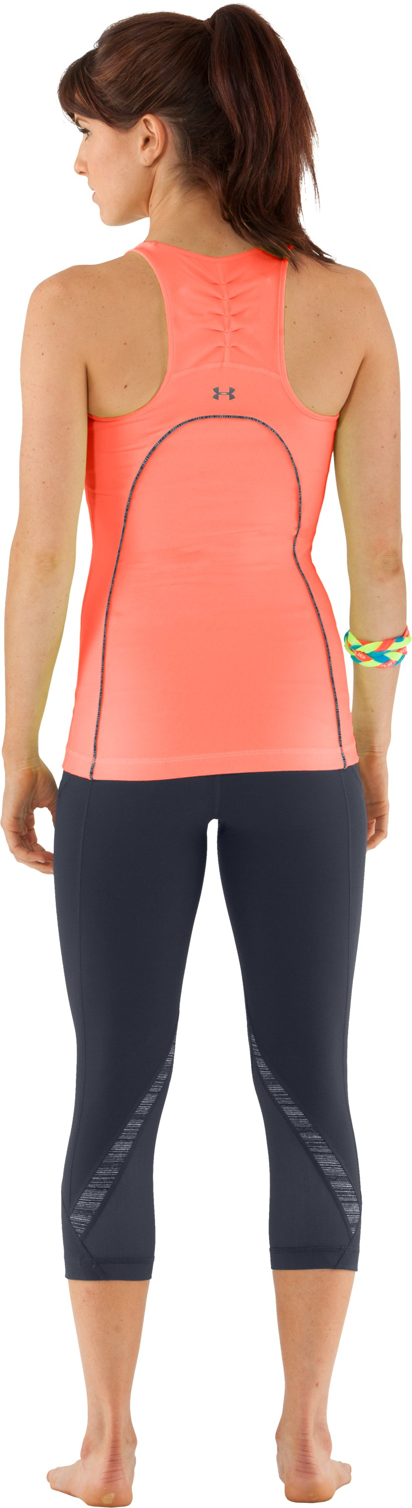 Women's UA Studio Rave Racer Back, ELECTRIC TANGERINE, Back