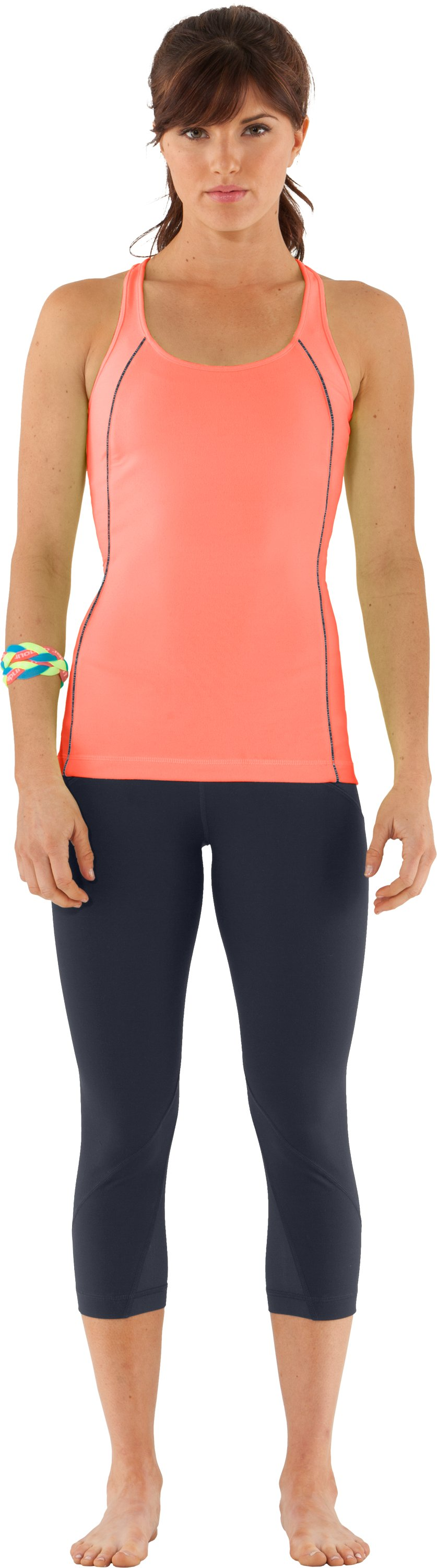Women's UA Studio Rave Racer Back, ELECTRIC TANGERINE, Front
