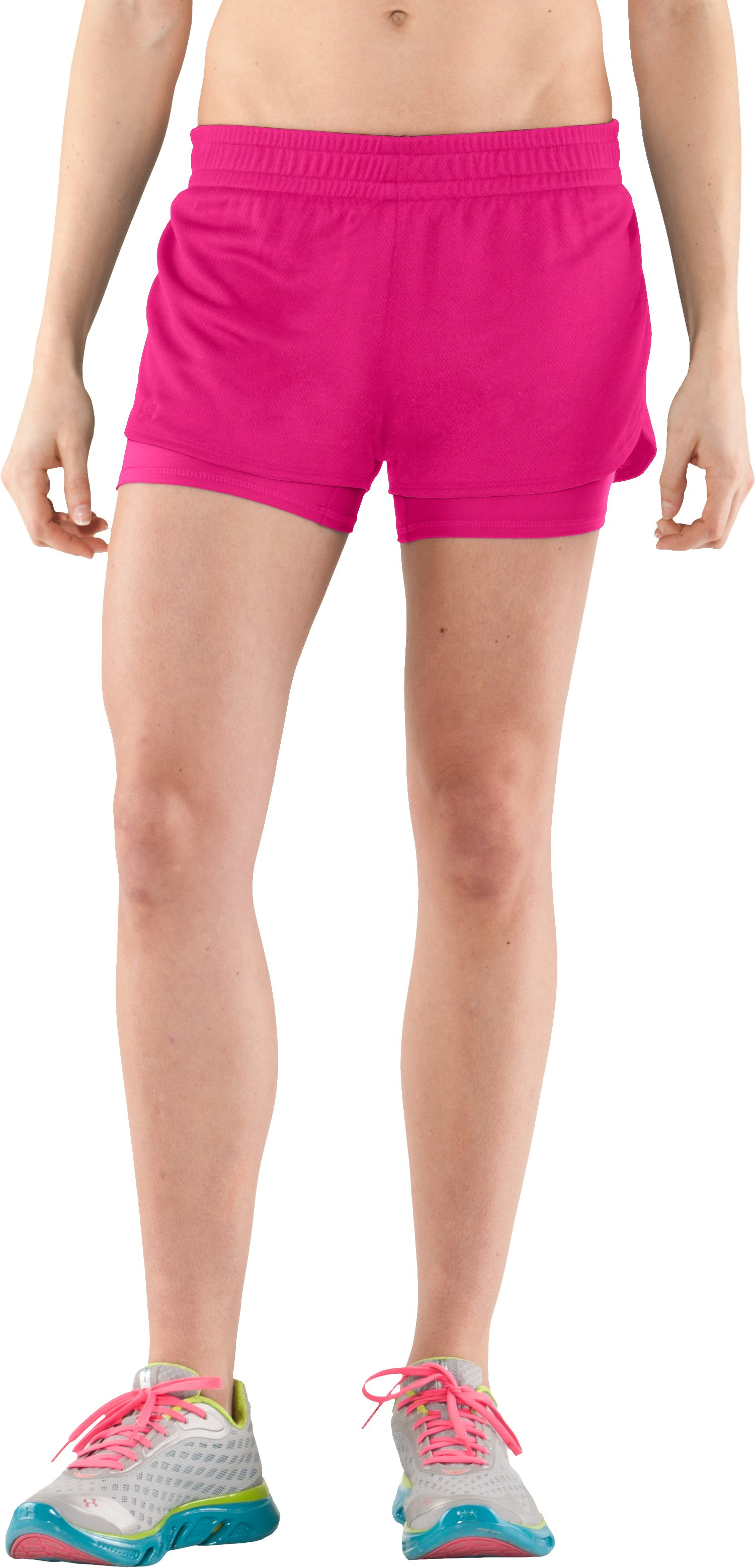 Women's UA Contend 2-In-1 Short, PINKADELIC, zoomed image