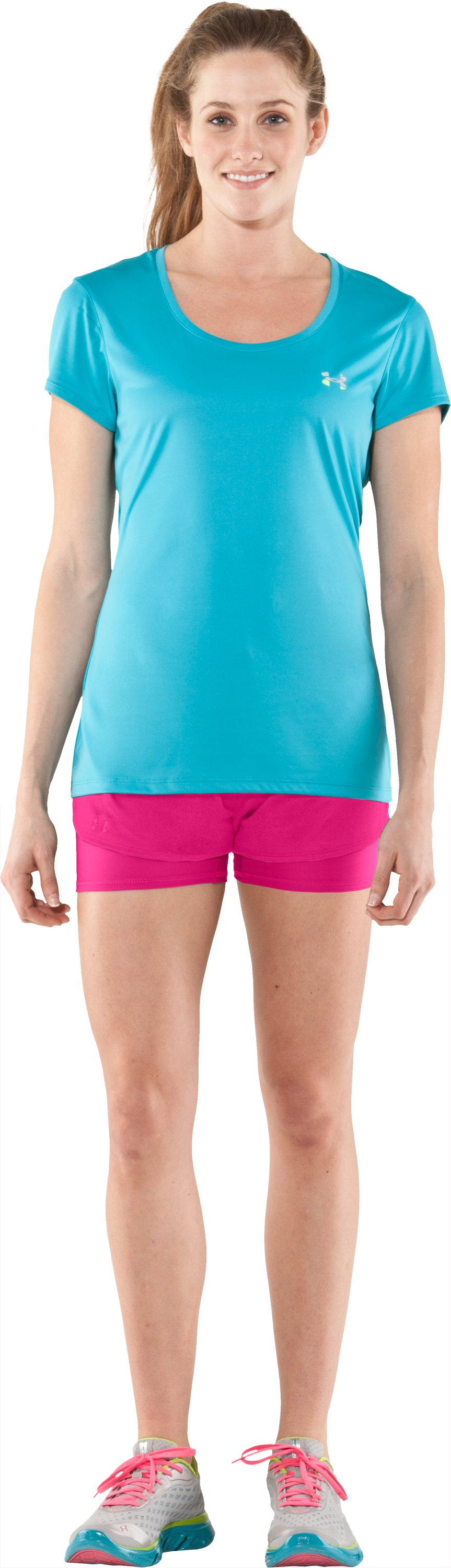 Women's UA Contend 2-In-1 Short, PINKADELIC, Front