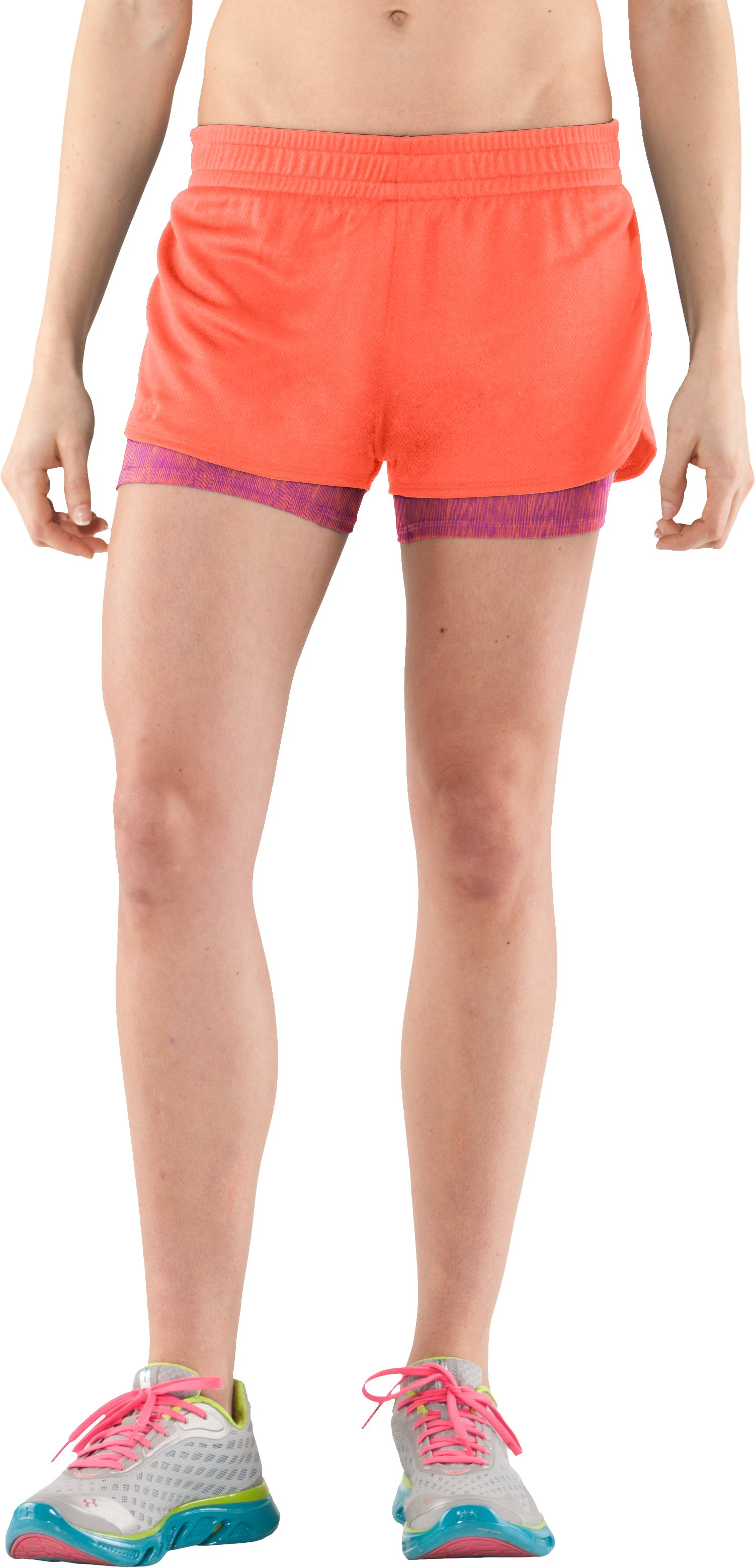 Women's UA Contend 2-In-1 Short, ELECTRIC TANGERINE, zoomed image