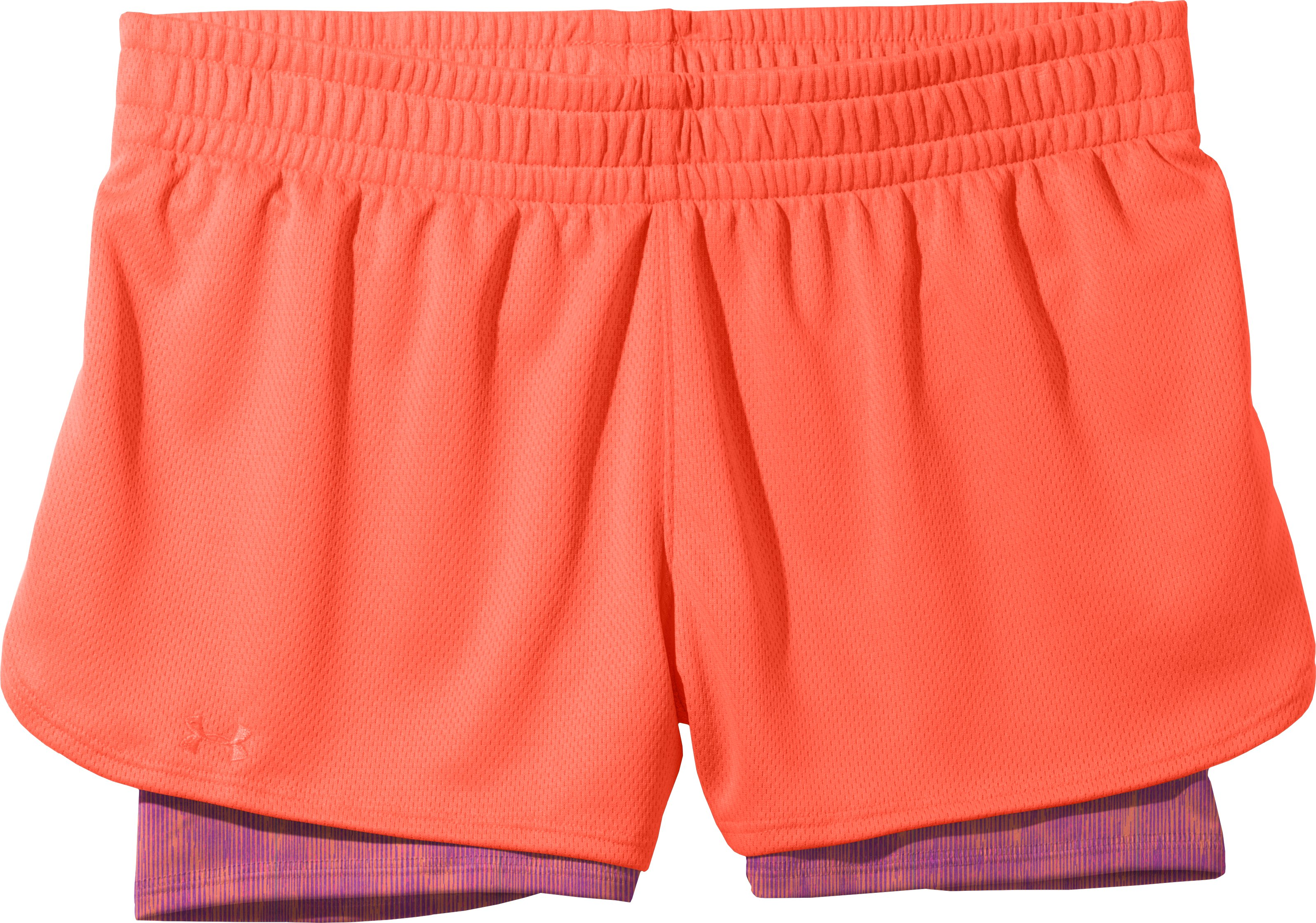 Women's UA Contend 2-In-1 Short, ELECTRIC TANGERINE, Laydown