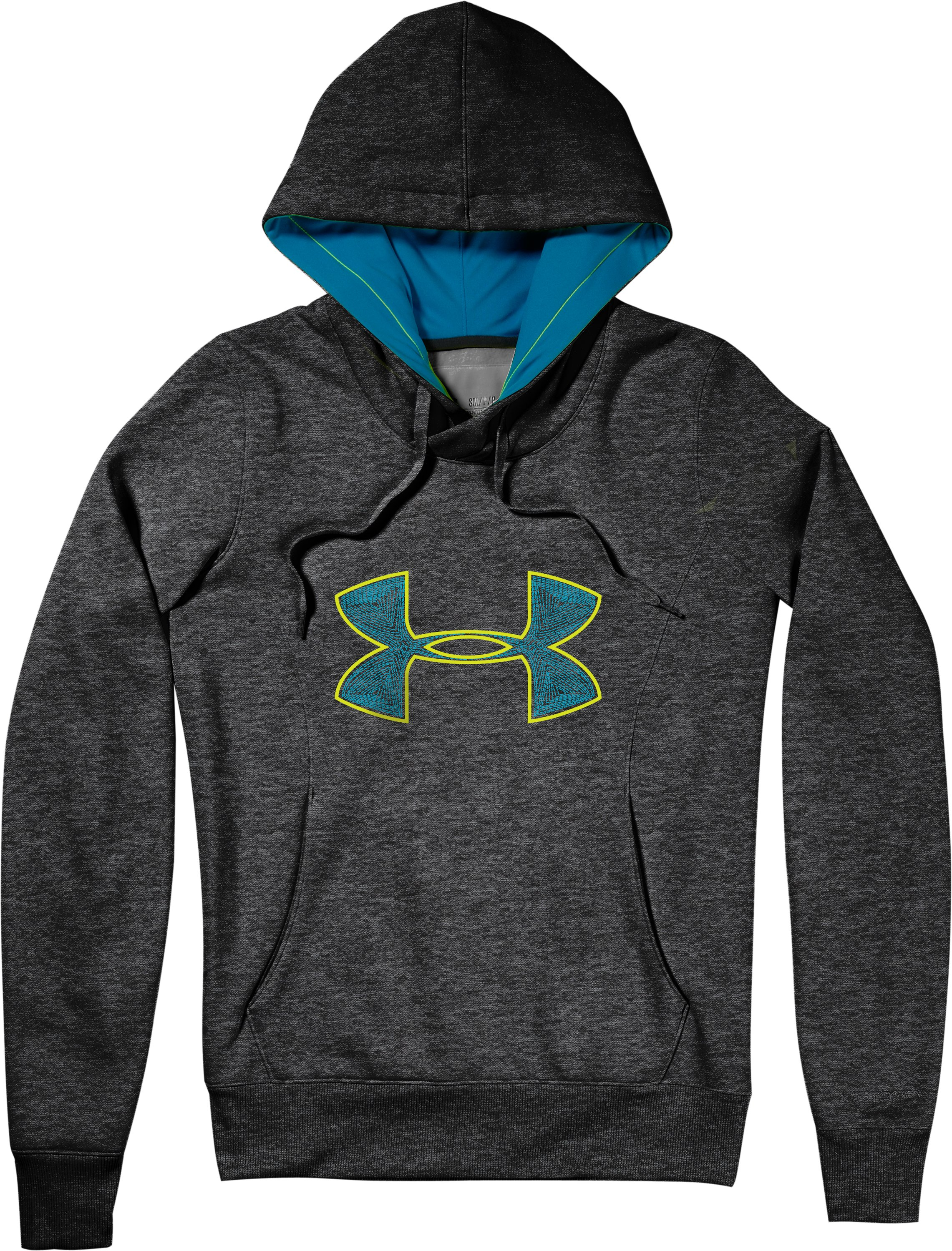 Women's Armour® Fleece Storm Embroidery Big Logo Hoodie, Carbon Heather, Laydown