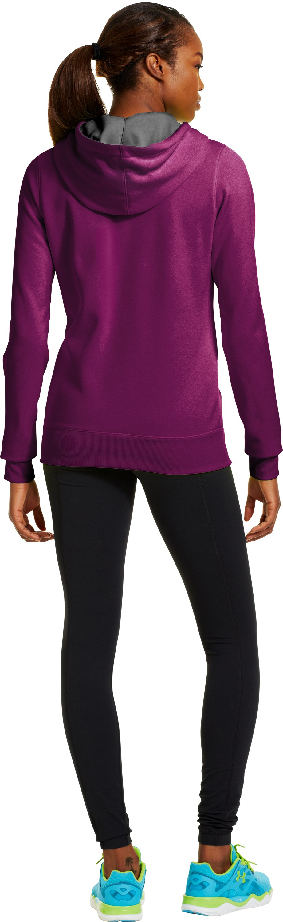 Women's Armour® Fleece Storm Embroidery Big Logo Hoodie, Aubergine, Back