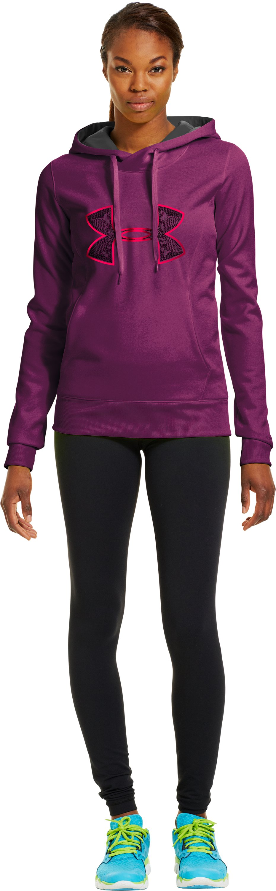 Women's Armour® Fleece Storm Embroidery Big Logo Hoodie, Aubergine, zoomed image