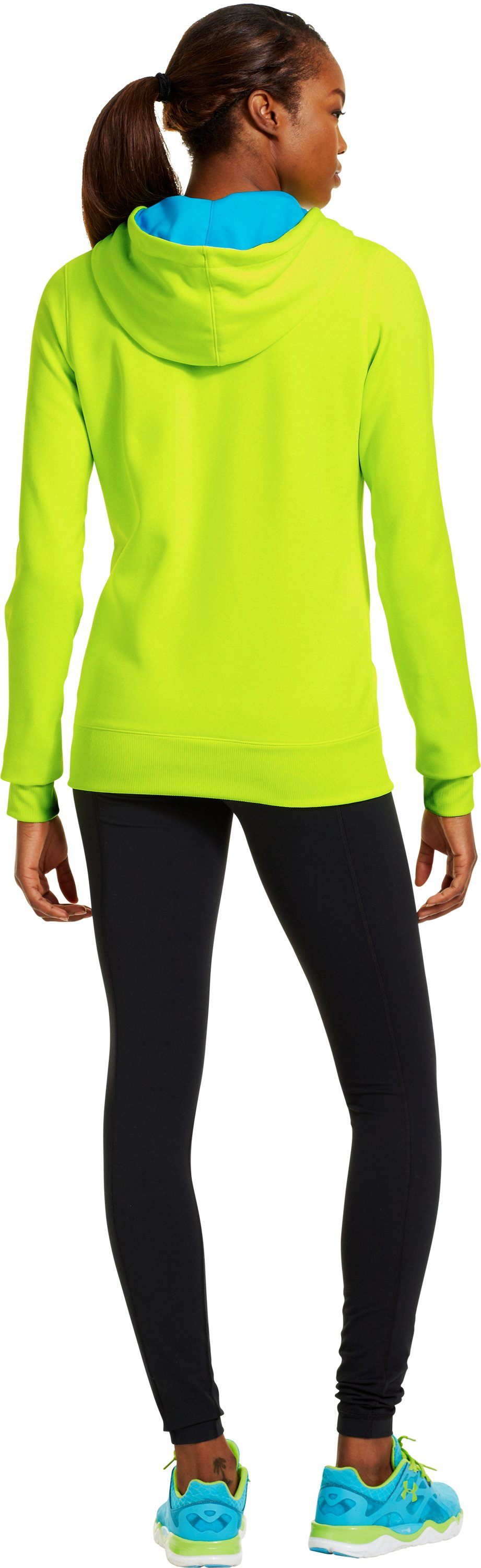 Women's Armour® Fleece Storm Embroidery Big Logo Hoodie, High-Vis Yellow, Back