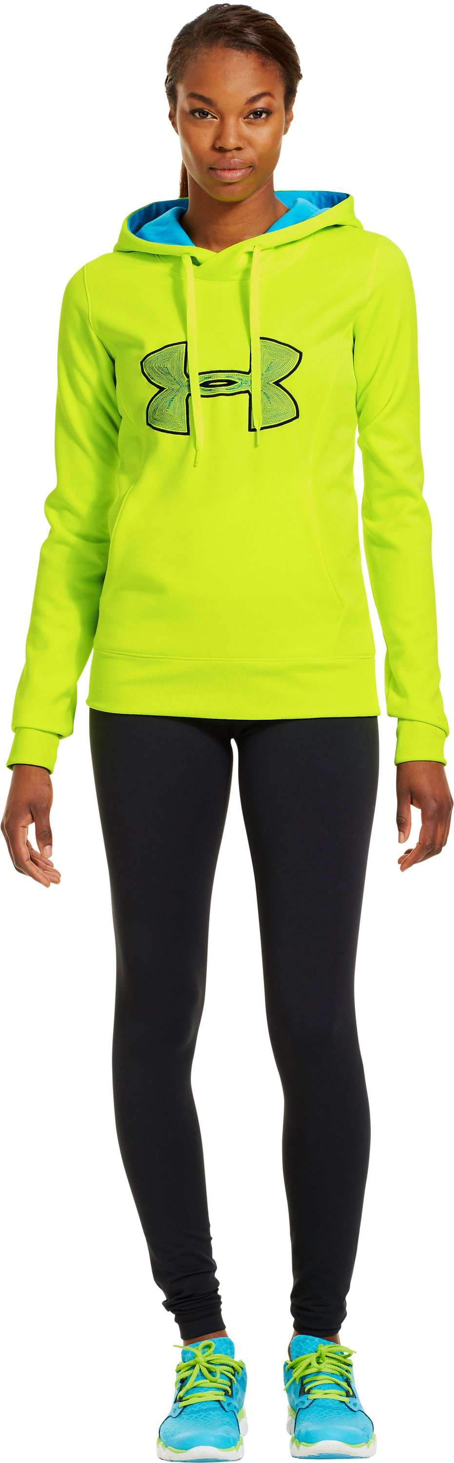 Women's Armour® Fleece Storm Embroidery Big Logo Hoodie, High-Vis Yellow, Front