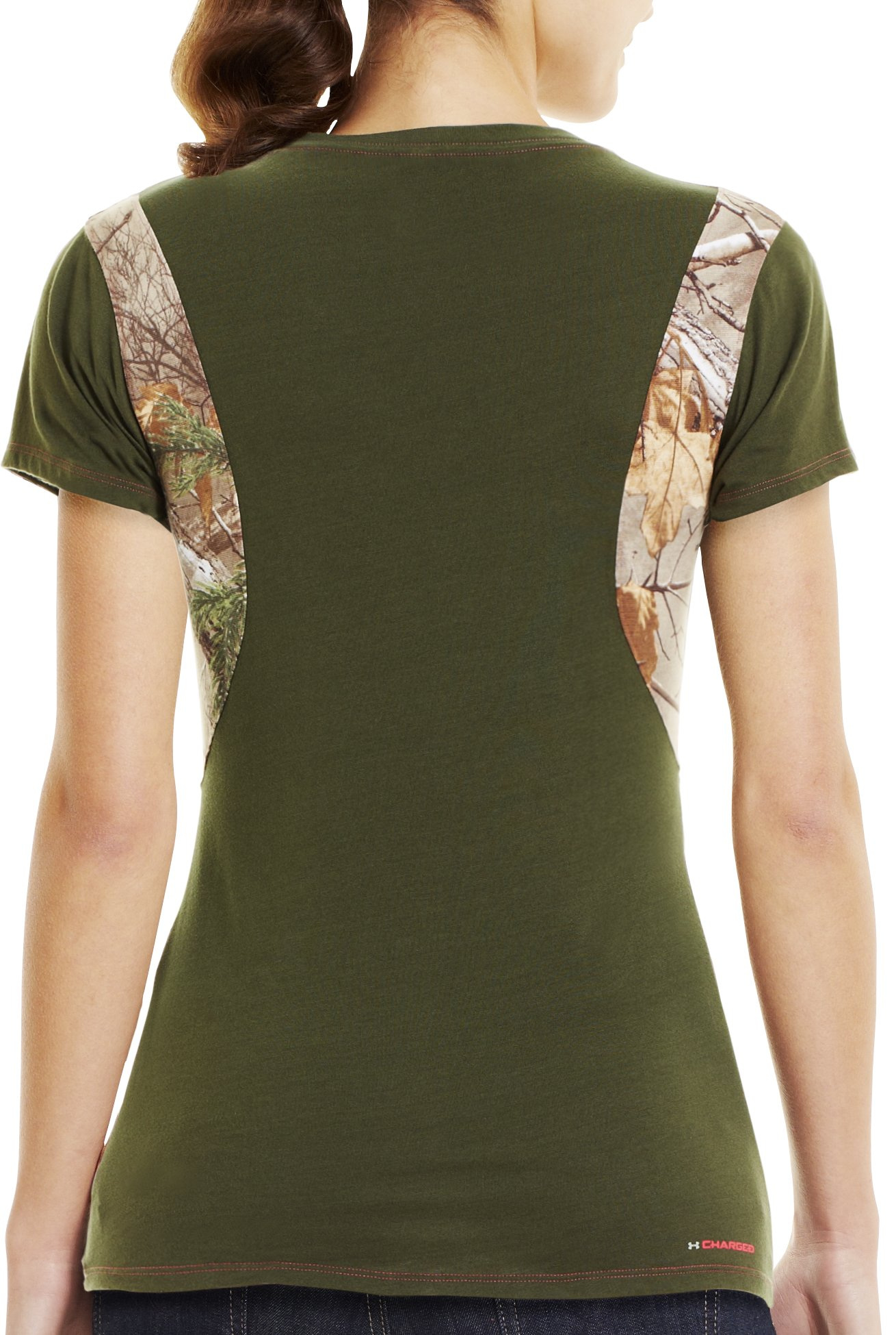 Women's Charged Cotton® Camo V-Neck, Rifle Green, Back