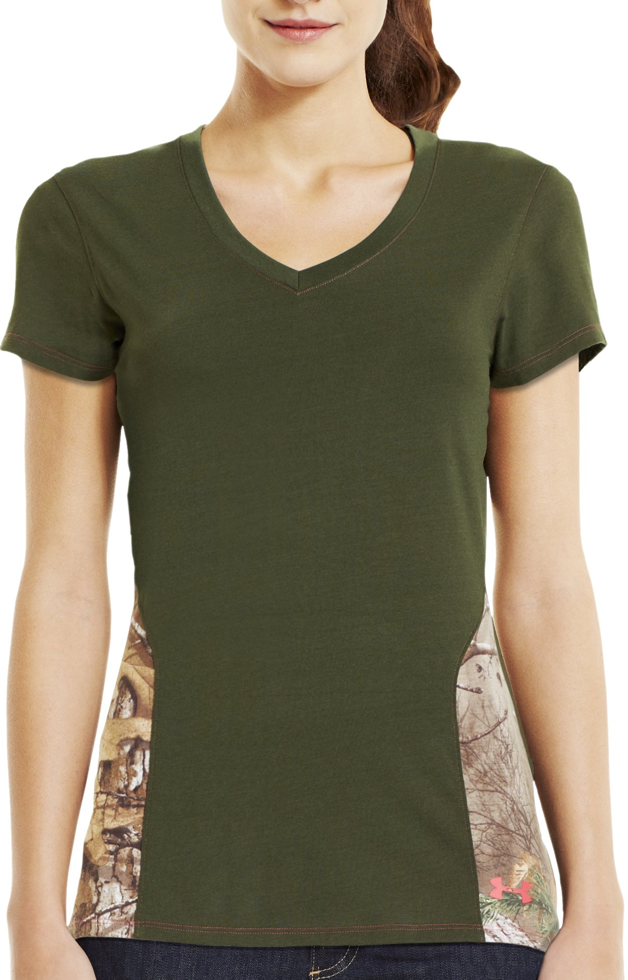 Women's Charged Cotton® Camo V-Neck, Rifle Green, Front