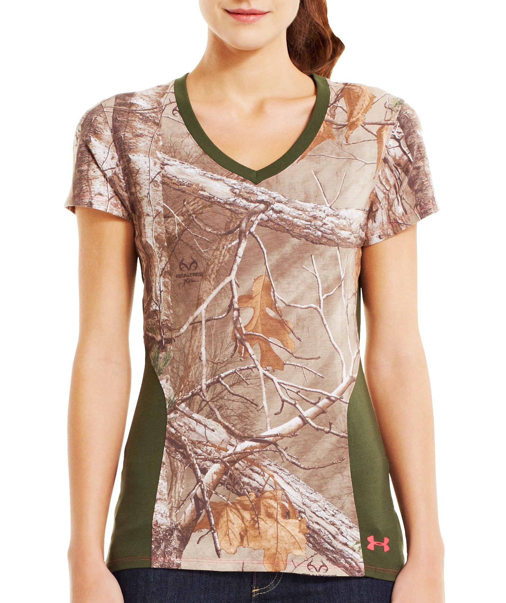 Women's Charged Cotton® Camo V-Neck, REALTREE AP-XTRA, Front