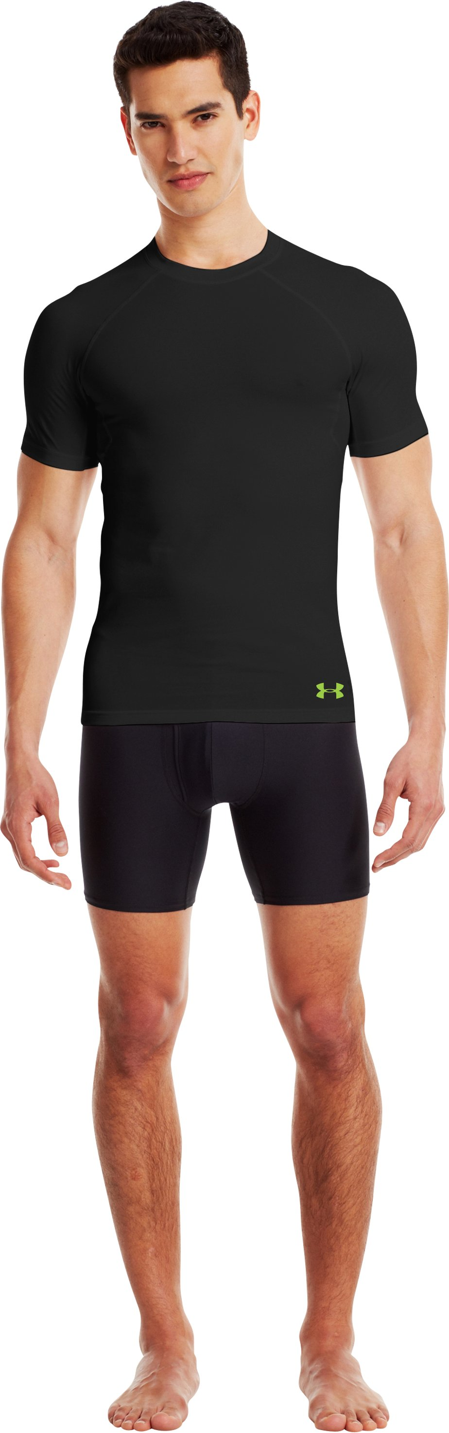 Men's Charged Cotton® Compression Crew, Black , Front