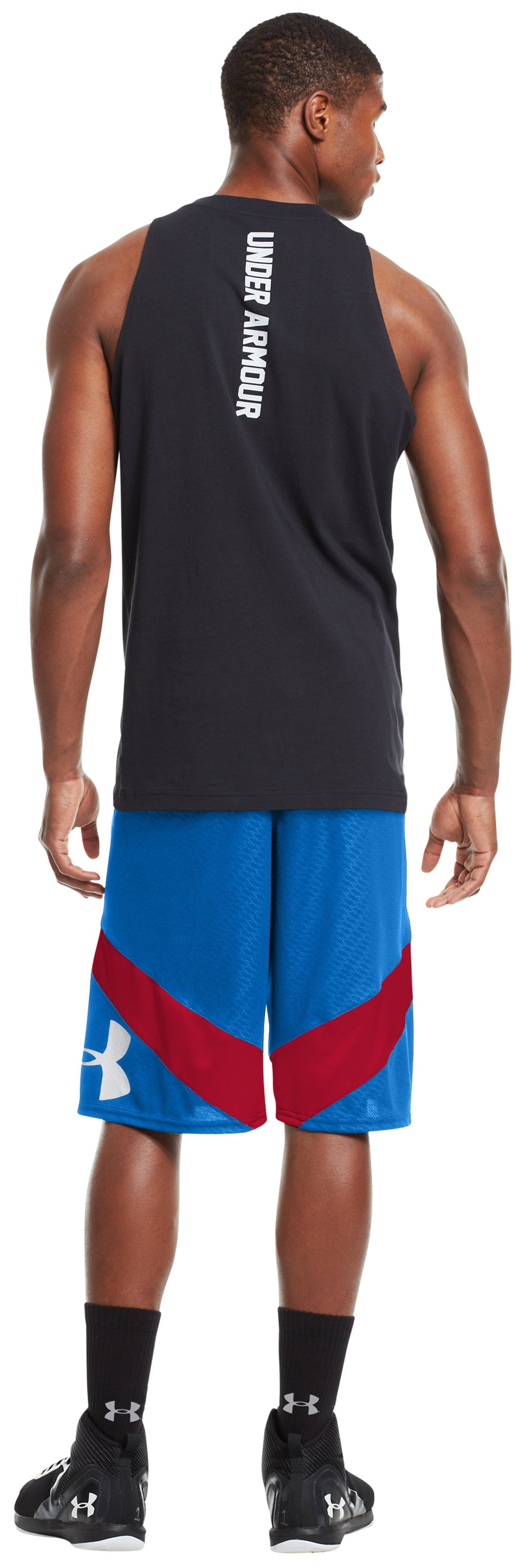 Men's UA EZ Mon-Knee Printed Basketball Shorts, Royal, Back