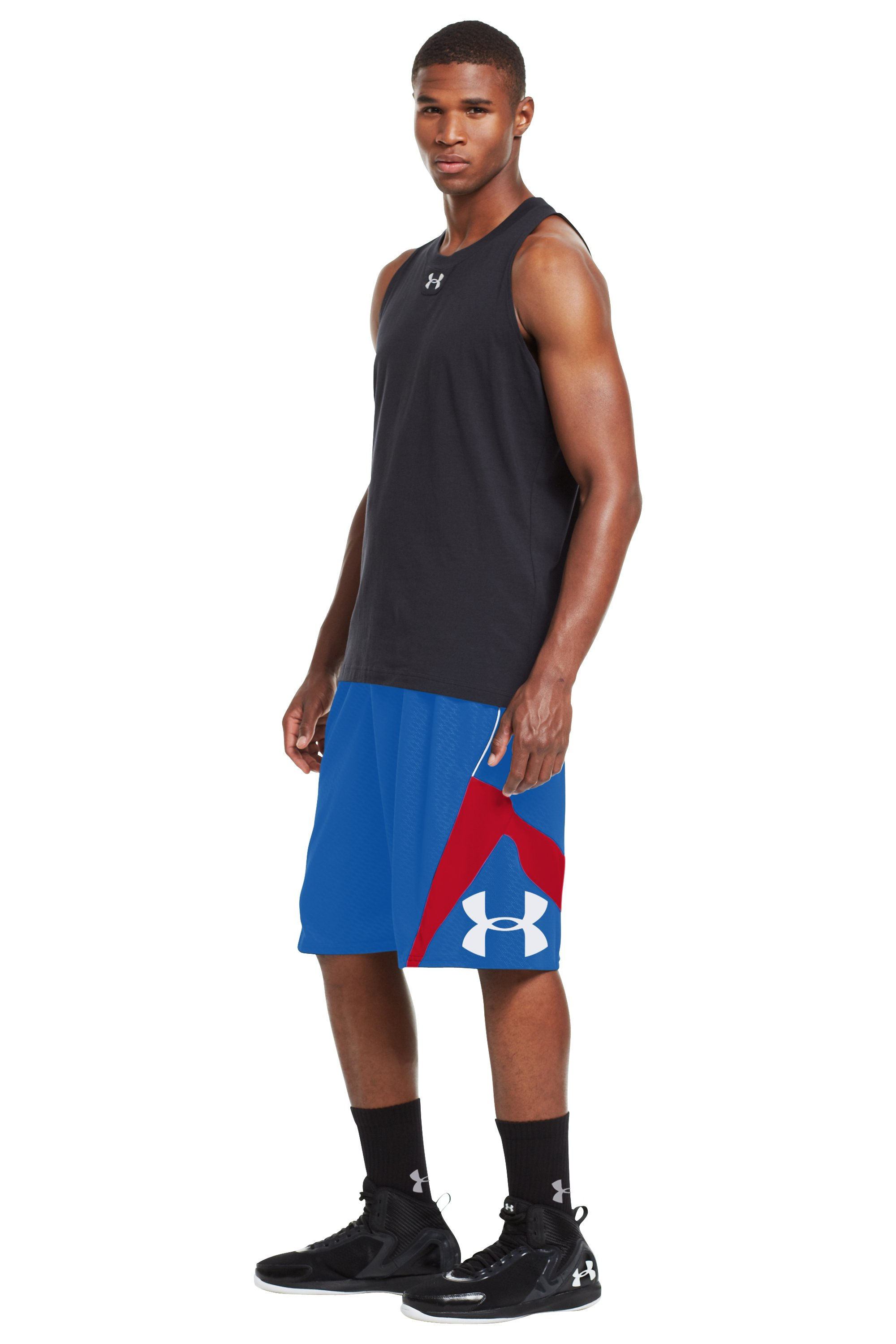 Men's UA EZ Mon-Knee Printed Basketball Shorts, Royal, zoomed image