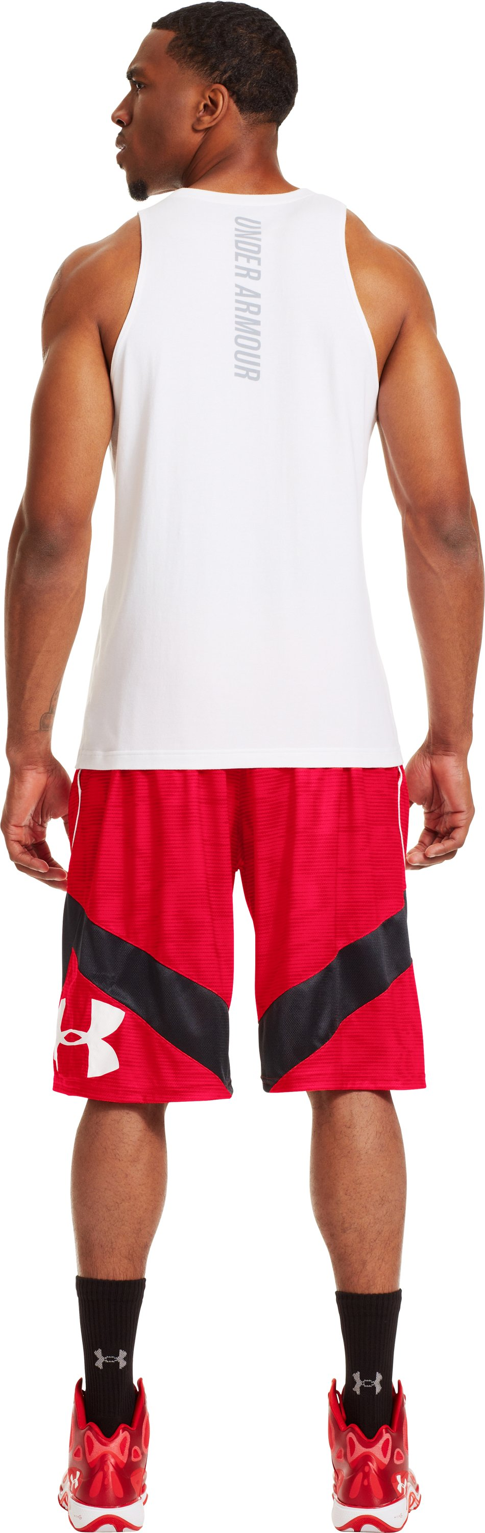 Men's UA EZ Mon-Knee Printed Basketball Shorts, Red, Back