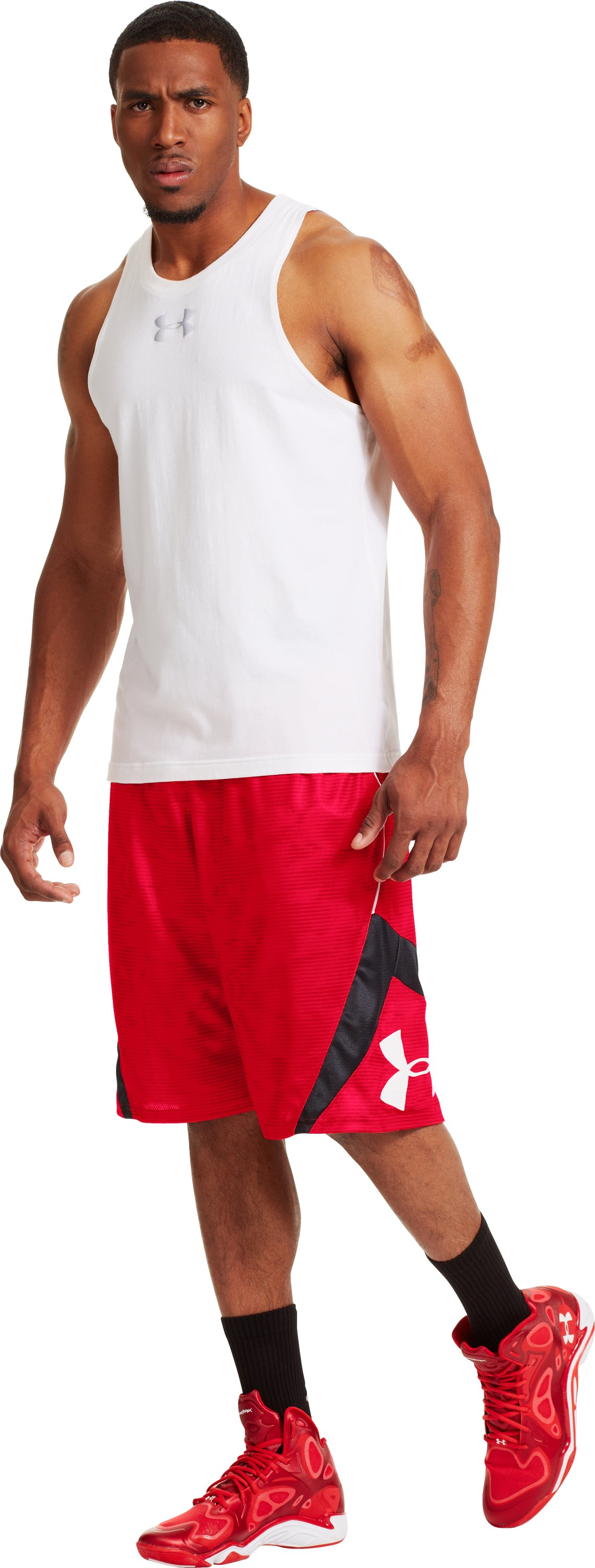 Men's UA EZ Mon-Knee Printed Basketball Shorts, Red, zoomed image